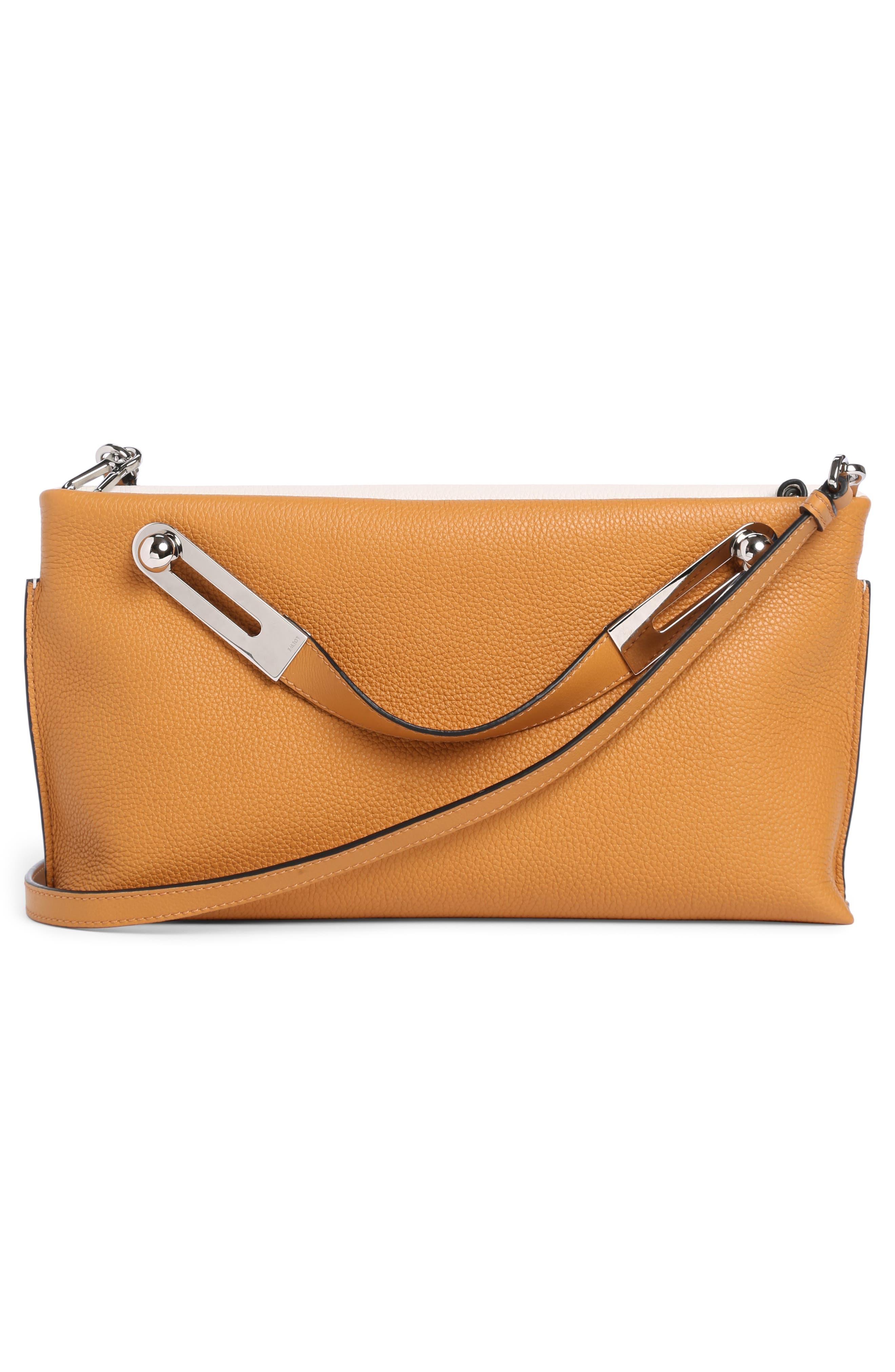 Small Missy Calfskin Leather Crossbody Bag,                             Alternate thumbnail 2, color,                             Soft White/ Amber