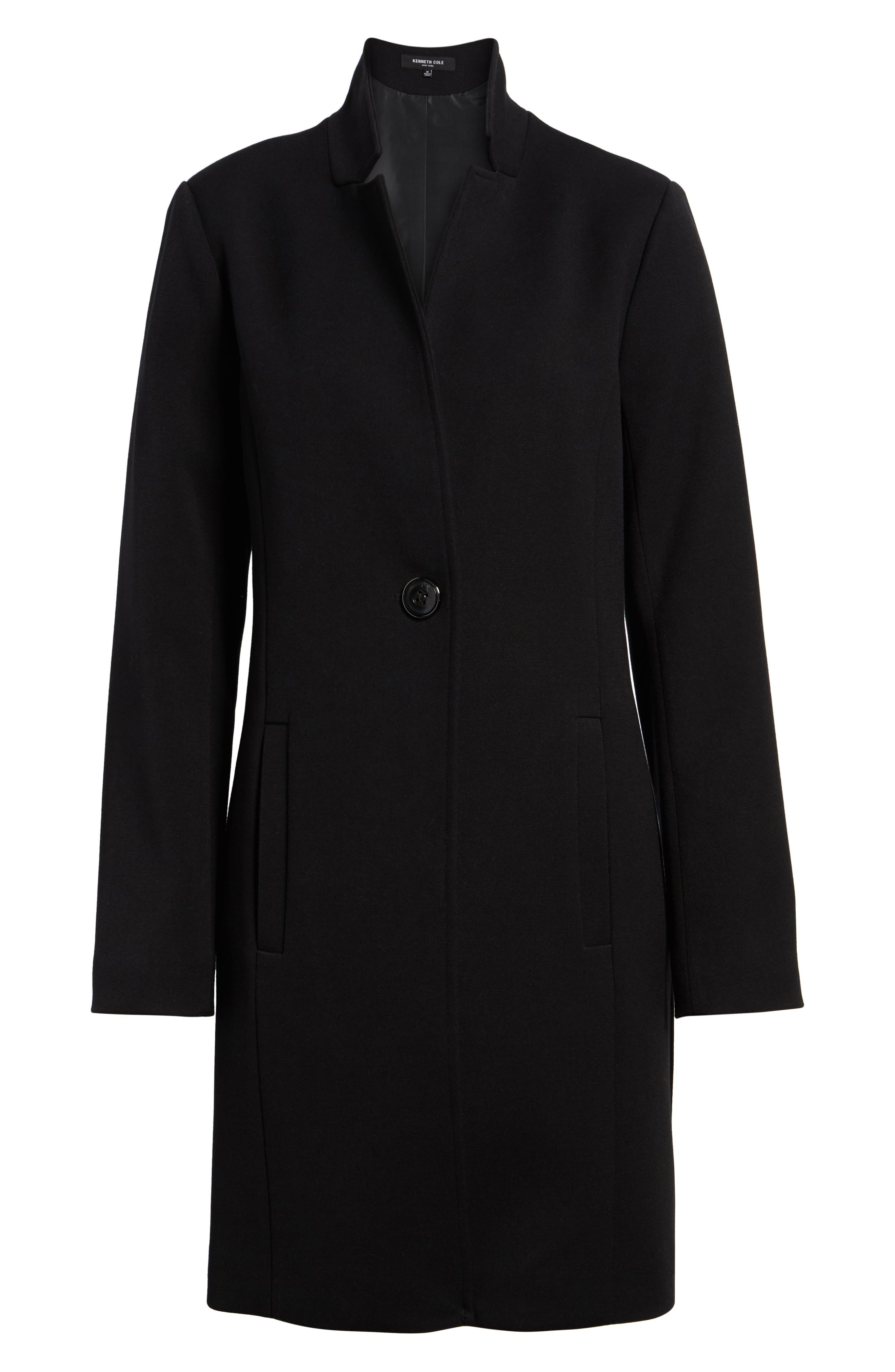 Ponte Knit Duster Jacket,                             Alternate thumbnail 7, color,                             Black