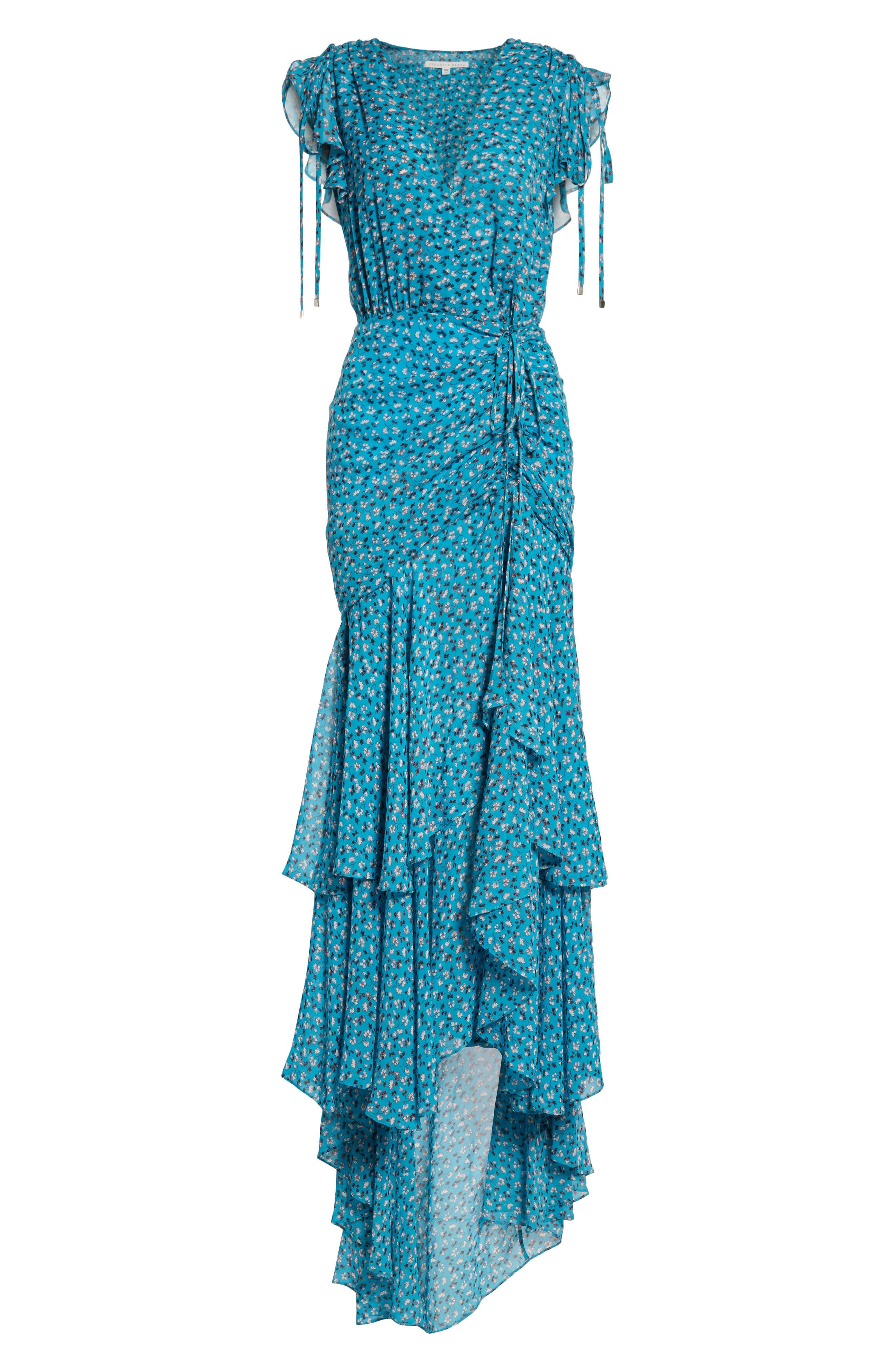 Samara Silk Dress,                             Alternate thumbnail 6, color,                             Blue