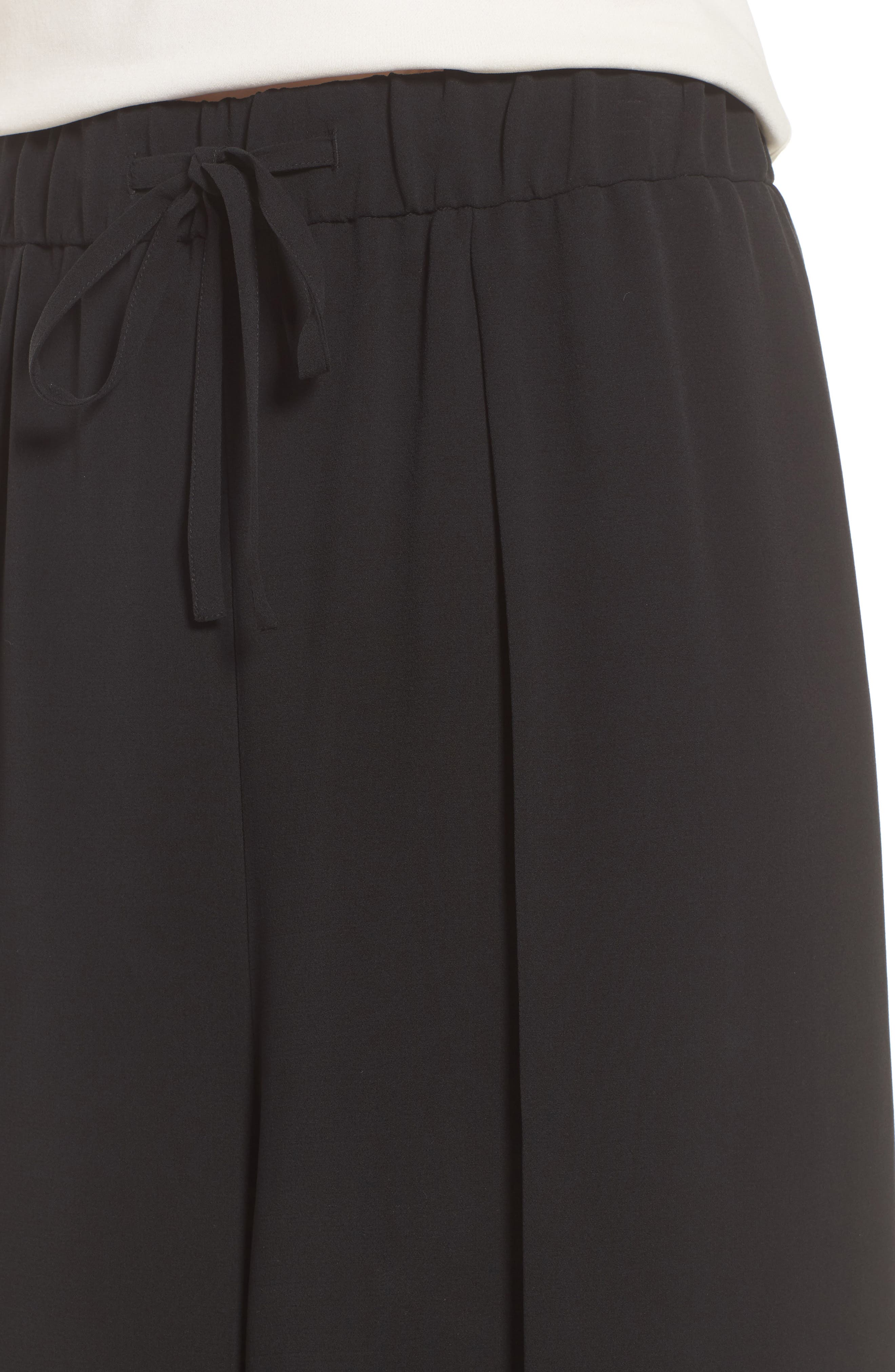 Crop Silk Pants,                             Alternate thumbnail 4, color,                             Black