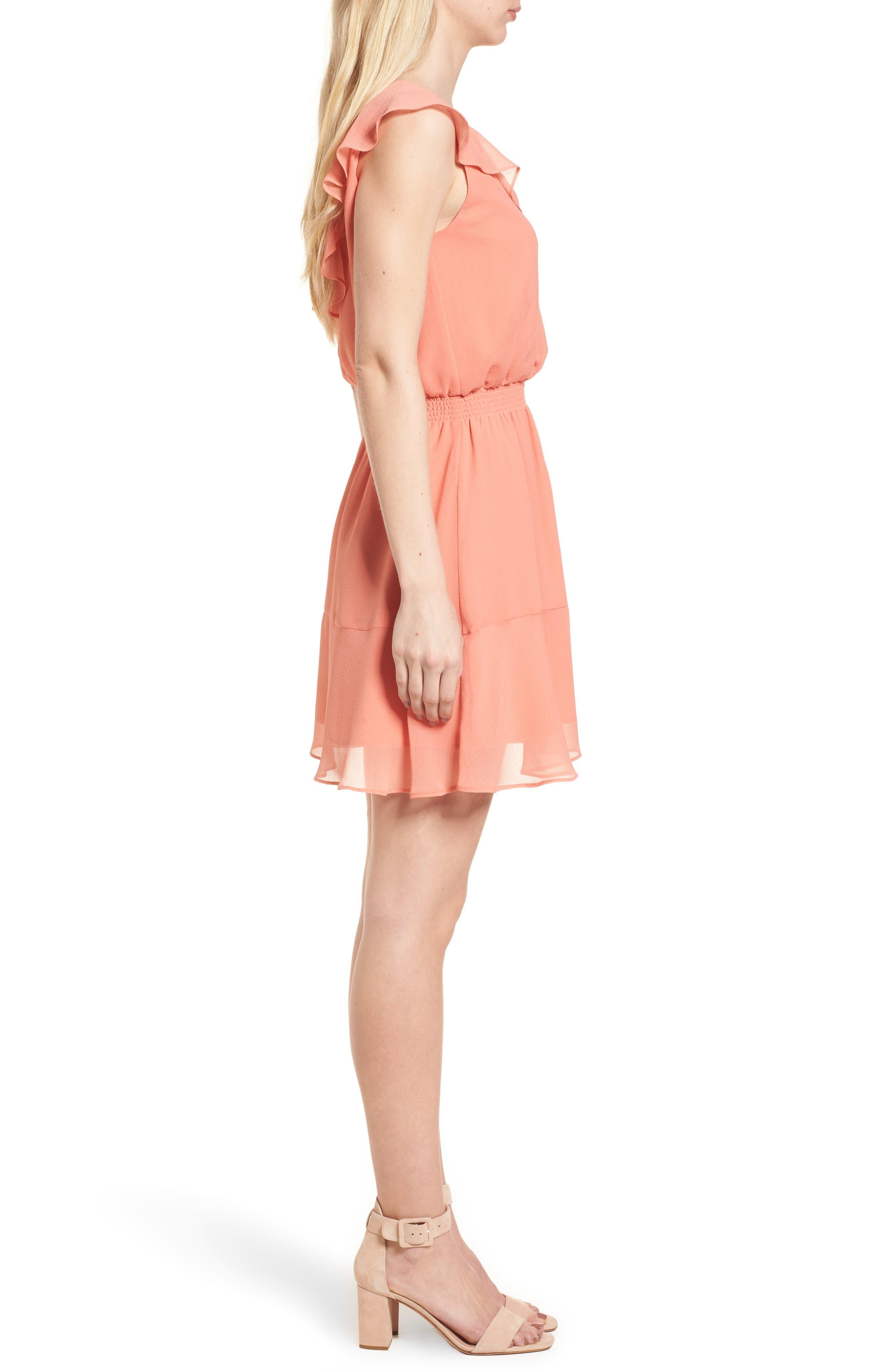 Iniko Blouson Dress,                             Alternate thumbnail 3, color,                             Spring Coral