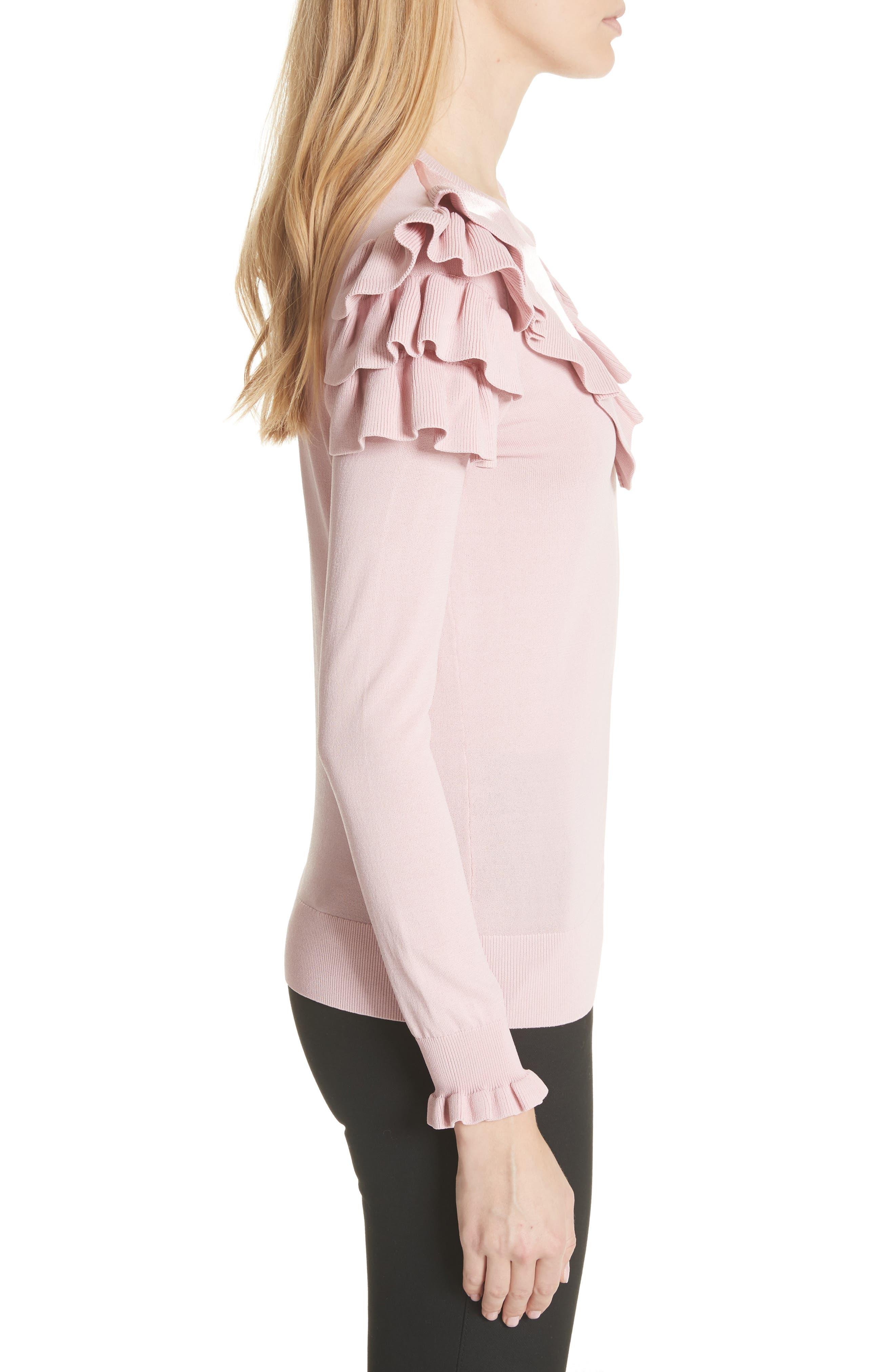 Satin Contrast Ruffle Sweater,                             Alternate thumbnail 3, color,                             Dusky Pink