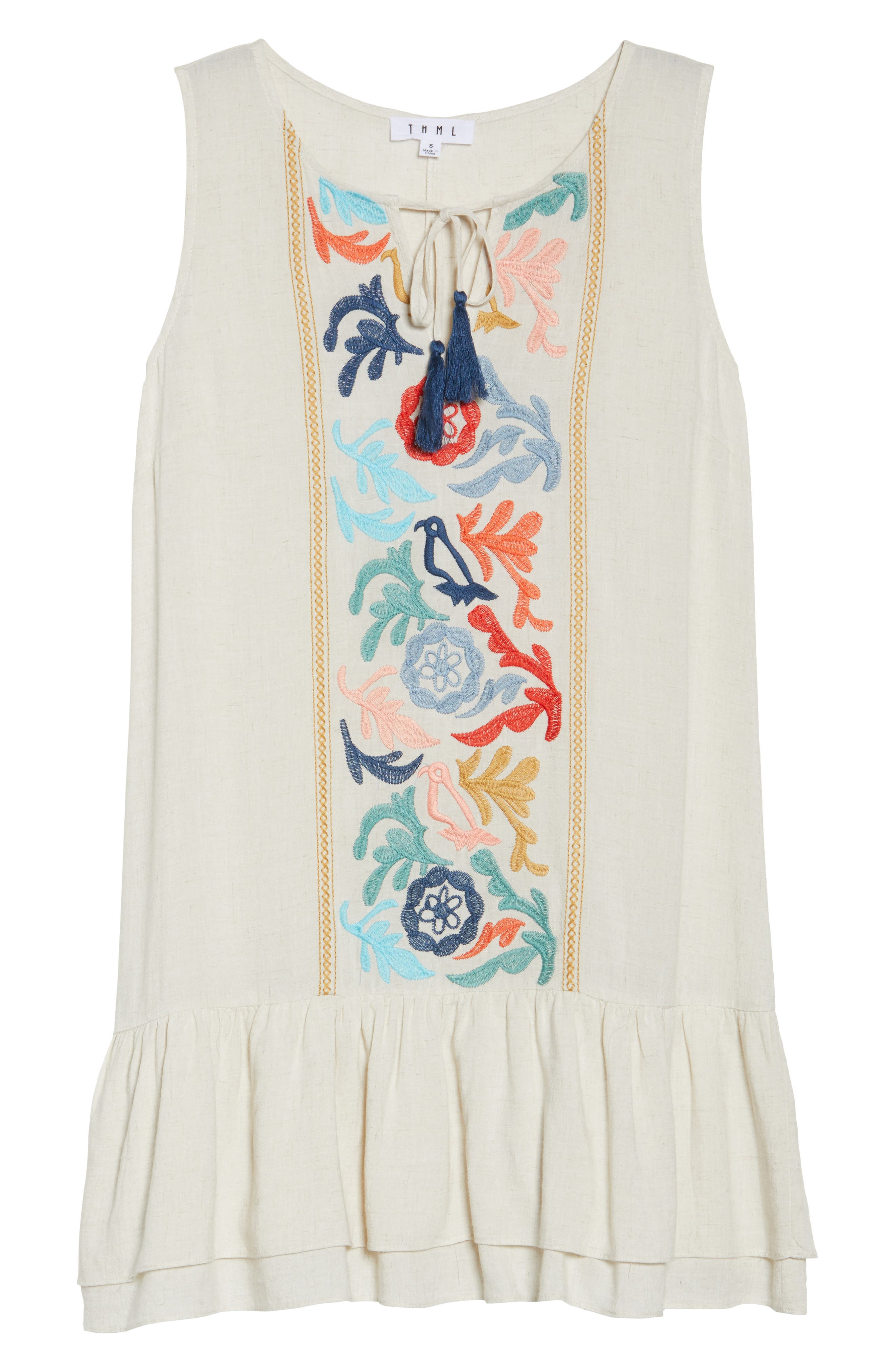 Embroidered Drop Waist Dress,                             Alternate thumbnail 6, color,                             Cream