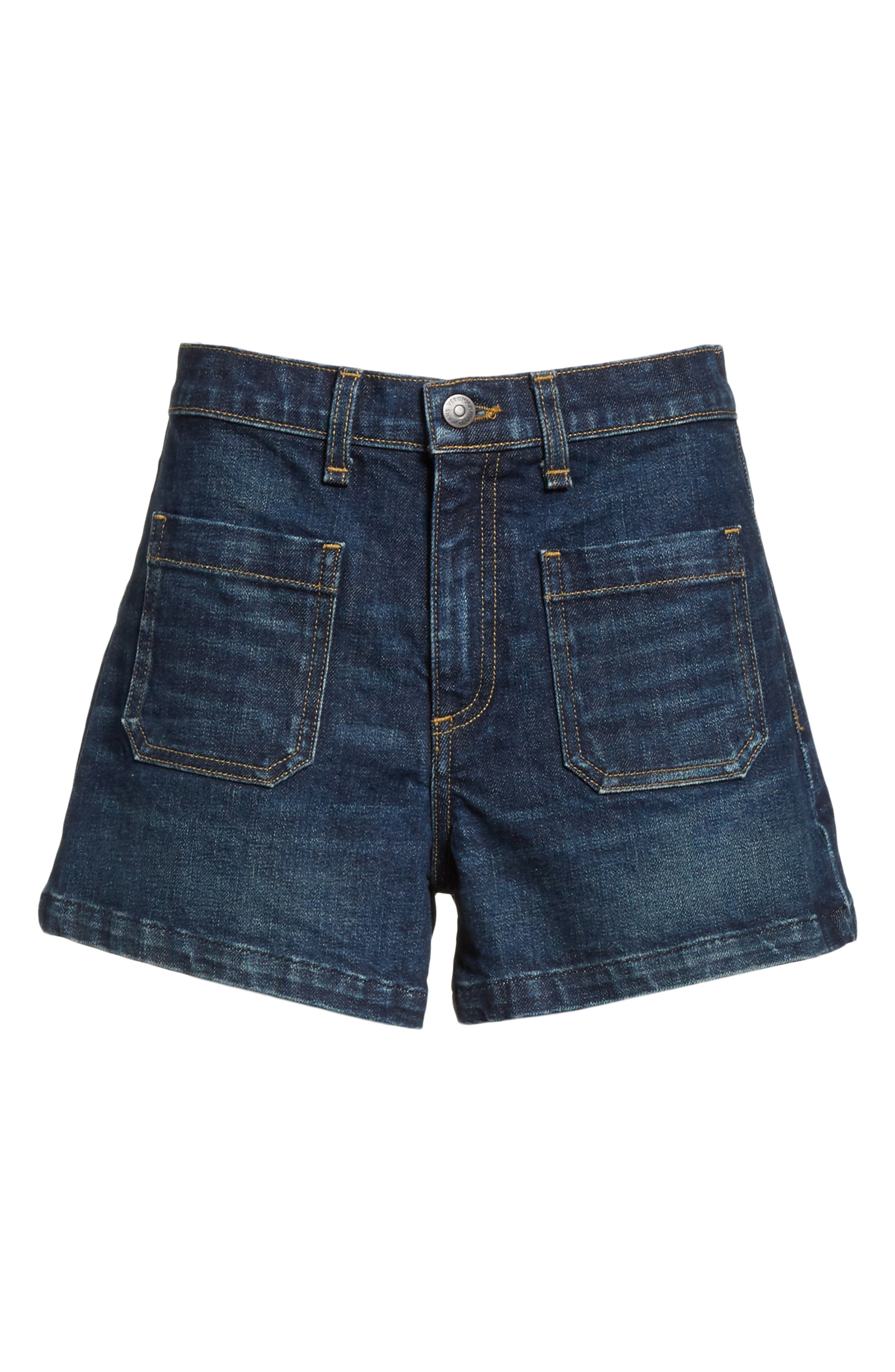 Florence Denim Shorts,                             Alternate thumbnail 6, color,                             Dark Vintage