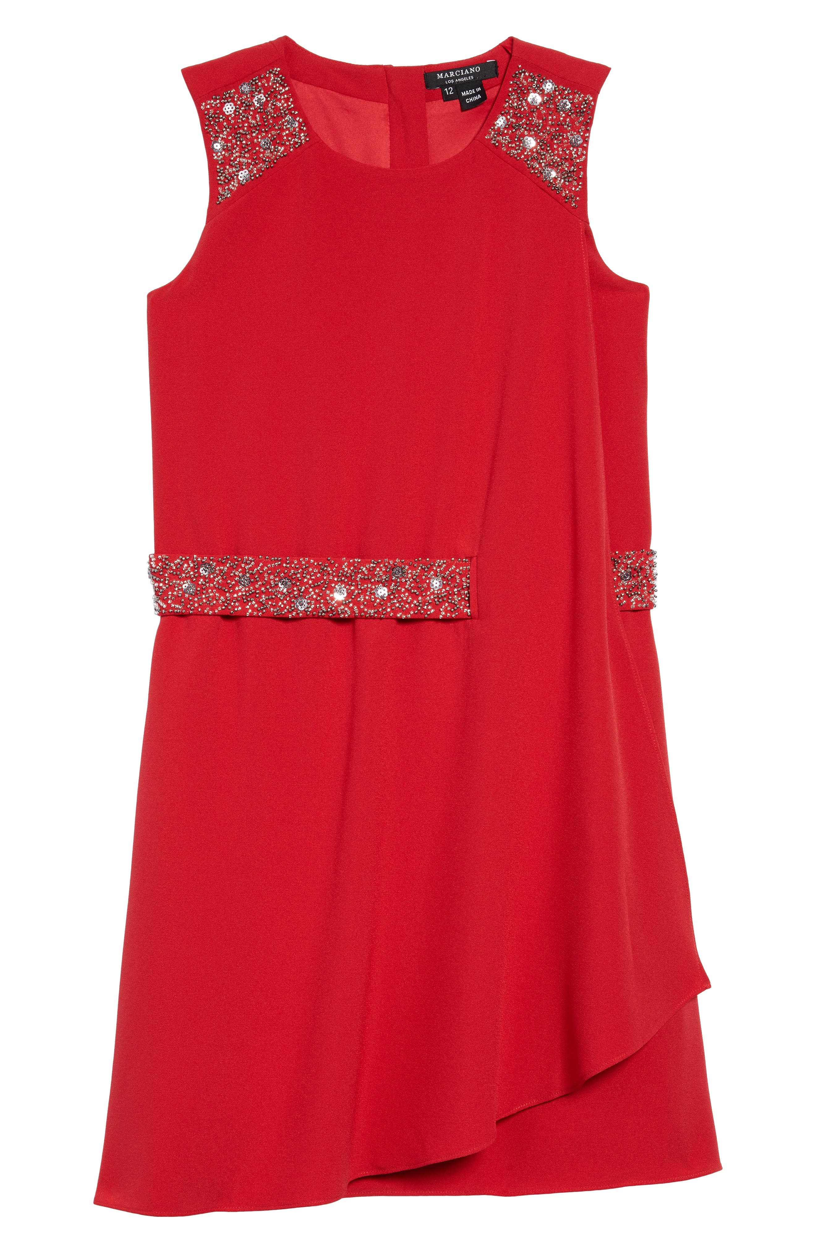 Alternate Image 1 Selected - Marciano Crepe Faux Wrap Dress (Little Girls & Big Girls)