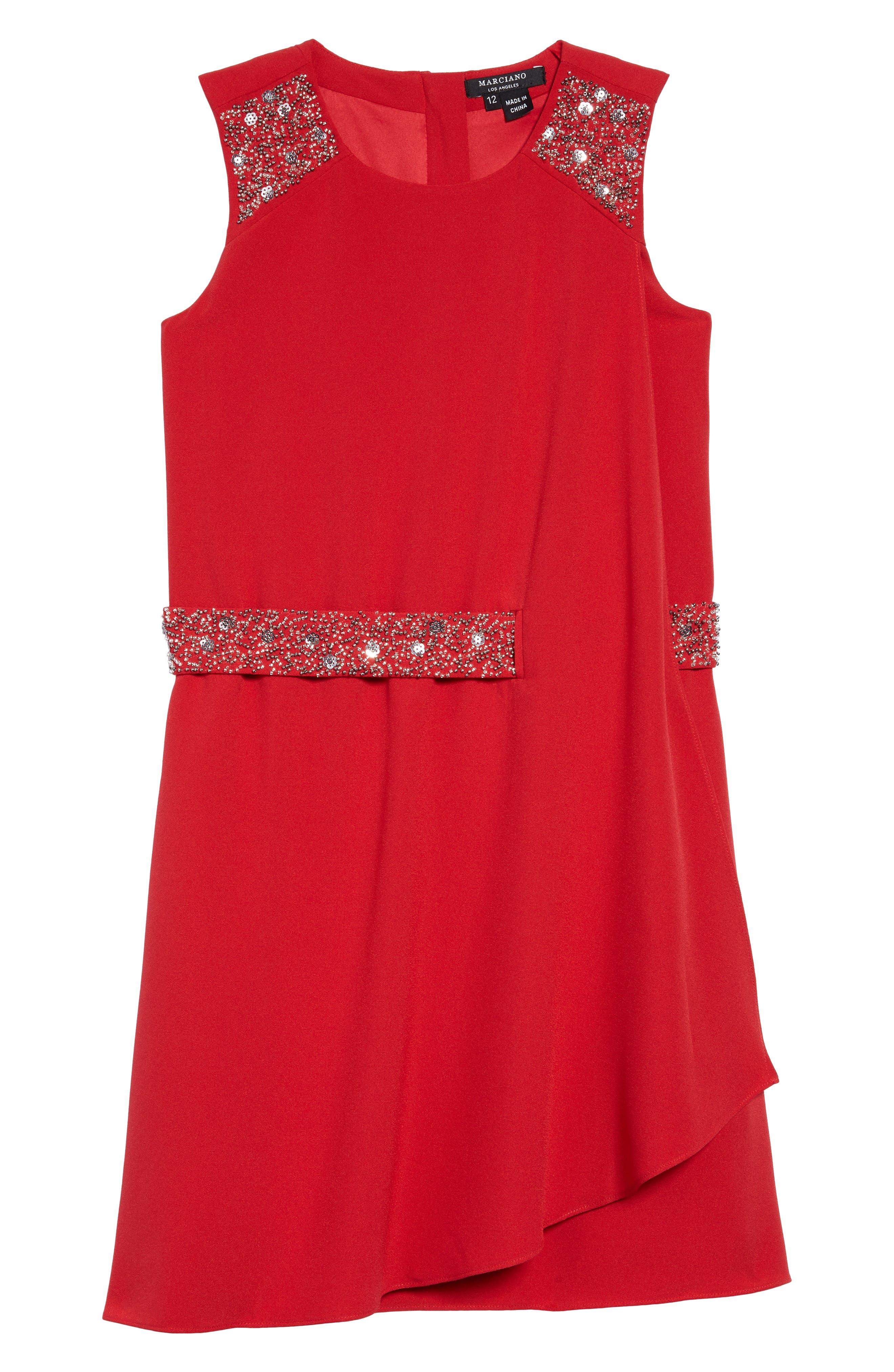 Crepe Faux Wrap Dress,                         Main,                         color, Electric Crimson