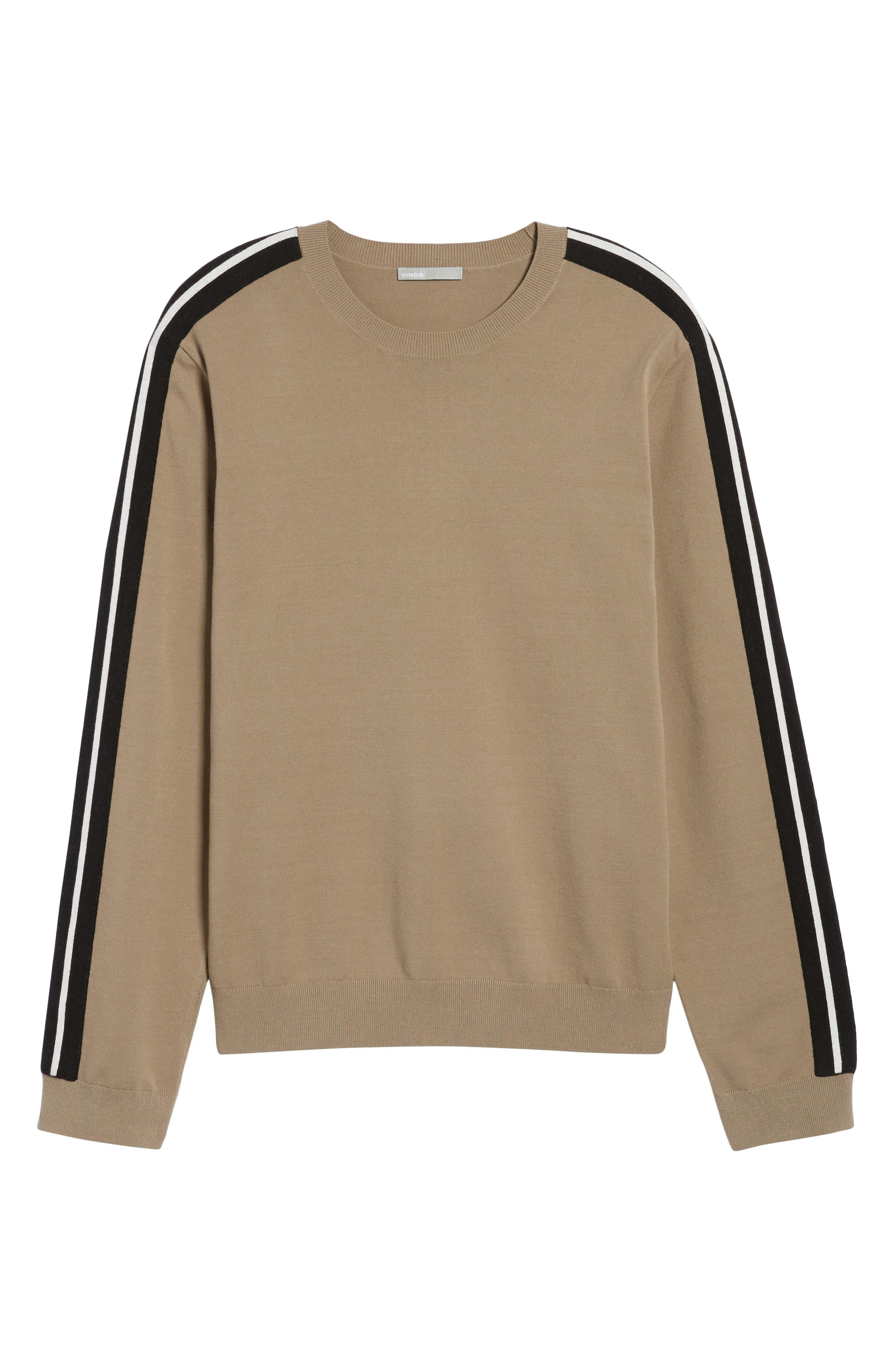 Track Stripe Crewneck Sweater,                             Alternate thumbnail 7, color,                             Pebble Taupe