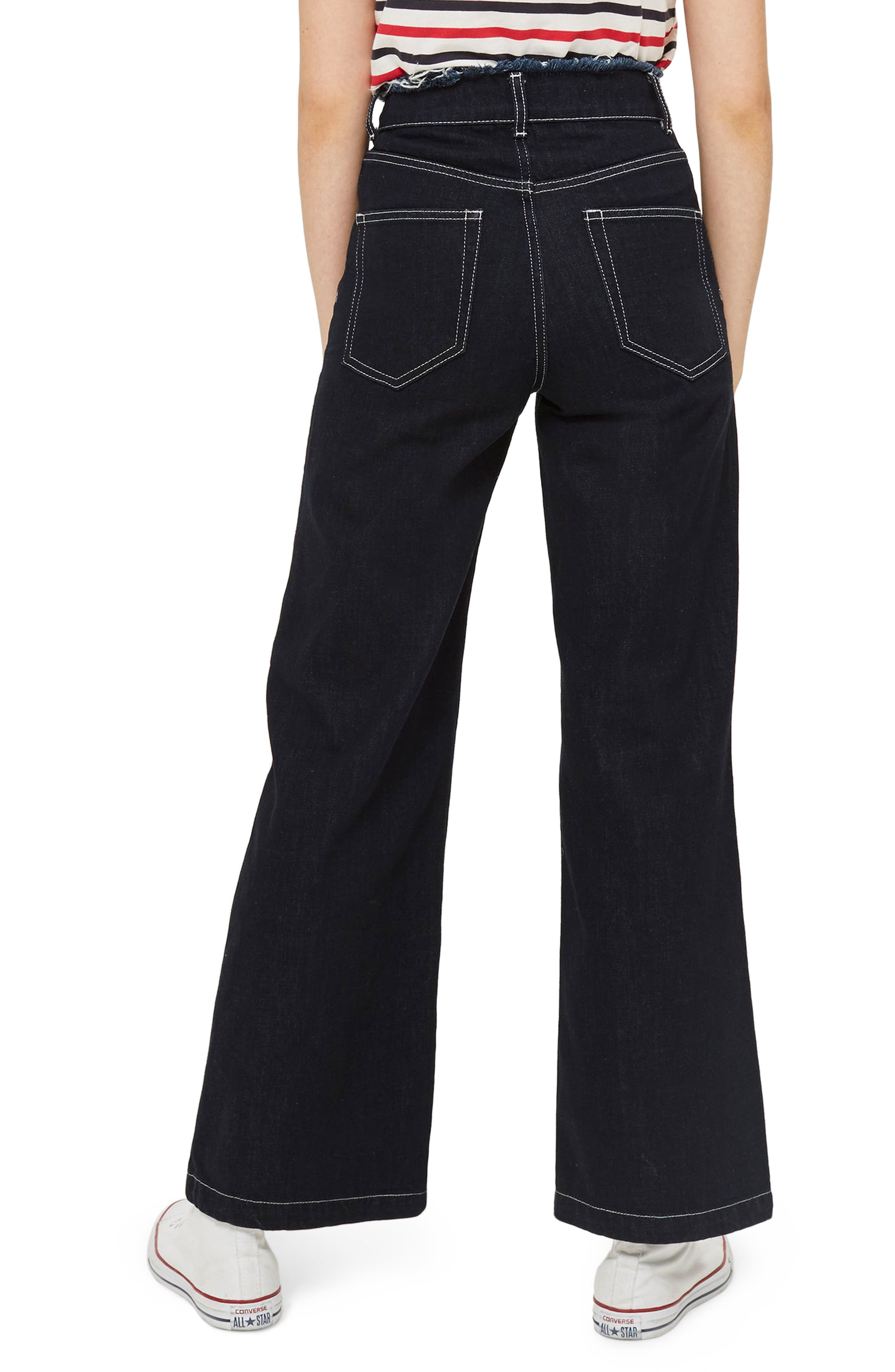 Frayed Waist Wide Leg Jeans,                             Alternate thumbnail 3, color,                             Indigo