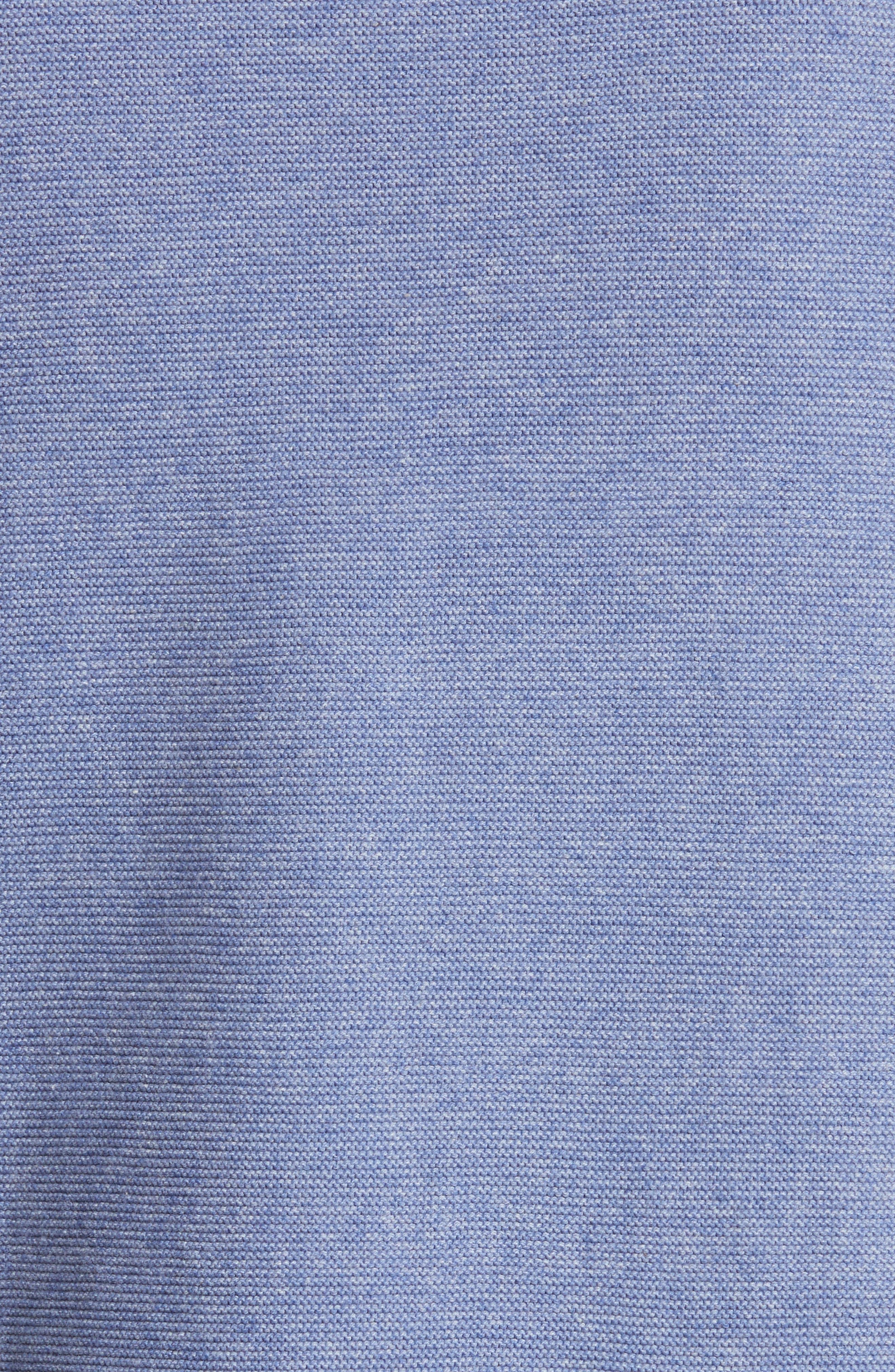 Denim Knit Fringe Cold Shoulder Minidress,                             Alternate thumbnail 5, color,                             Chambray