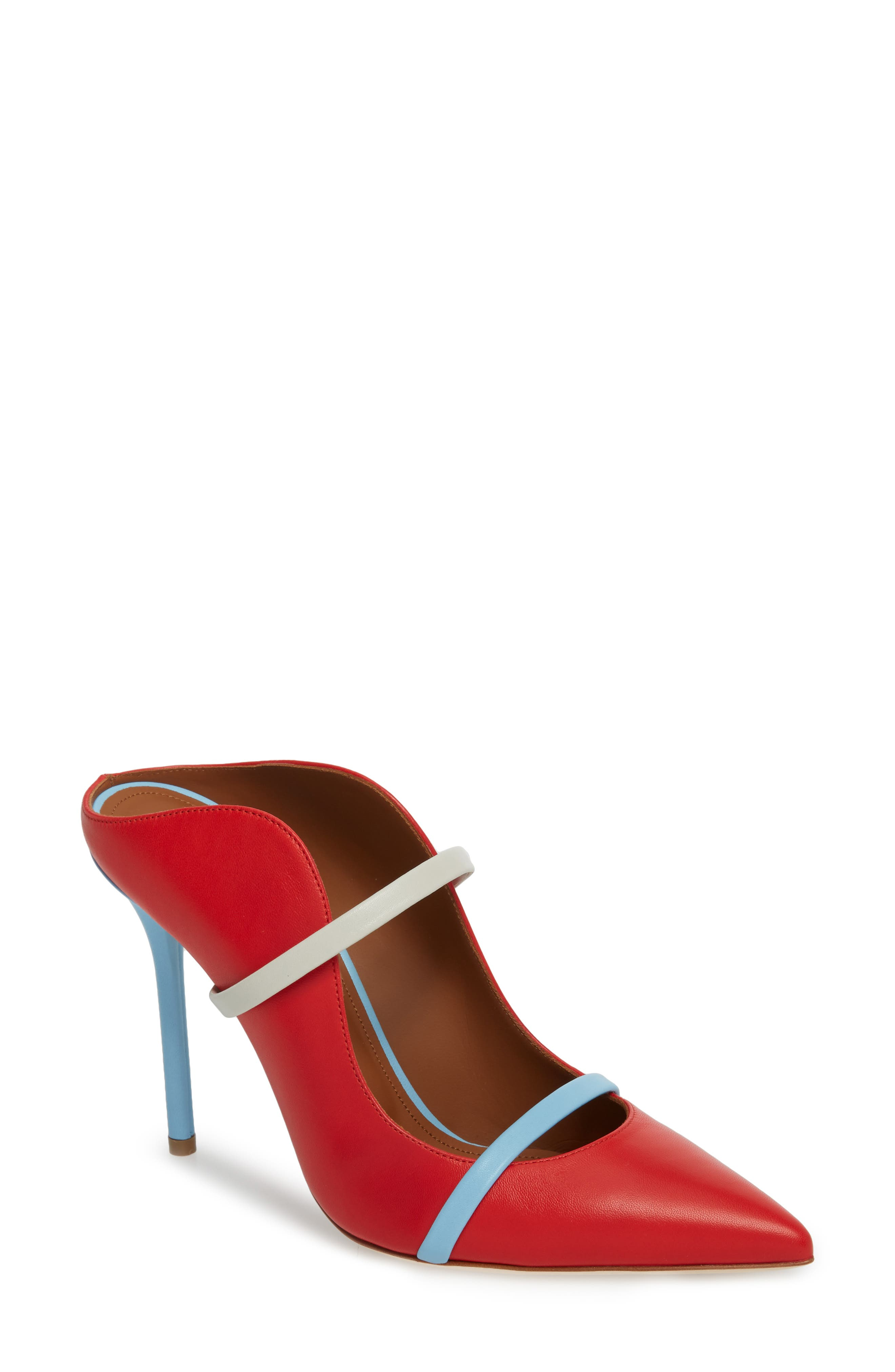 Maureen Double Band Mule,                         Main,                         color, Red/ Powder Blue