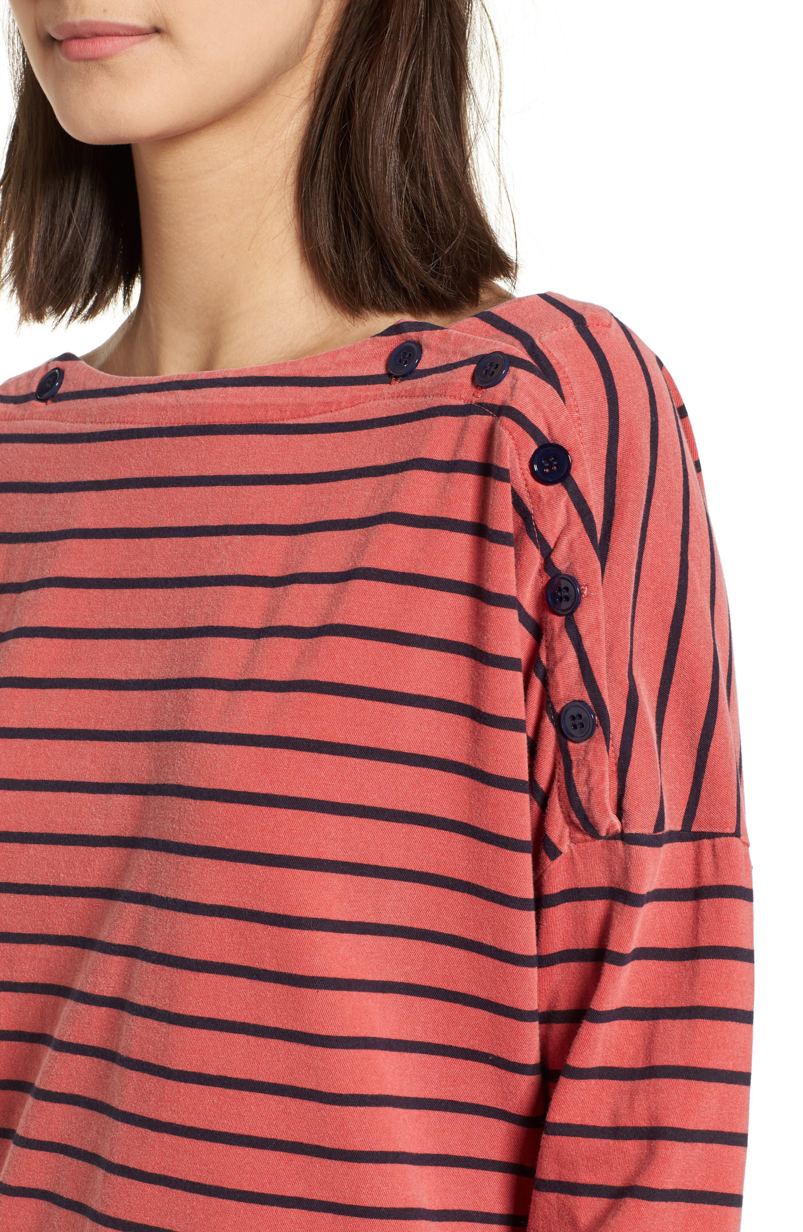 Stripe Button Tee,                             Alternate thumbnail 4, color,                             Chili