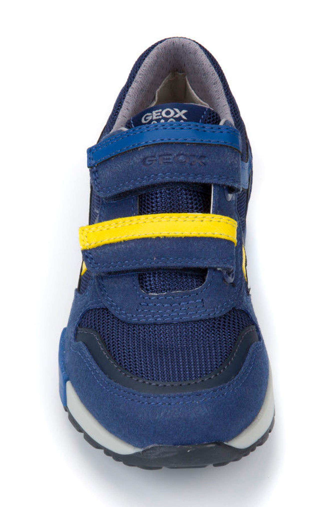Alfier Stripe Low Top Sneaker,                             Alternate thumbnail 4, color,                             Blue/ Yellow