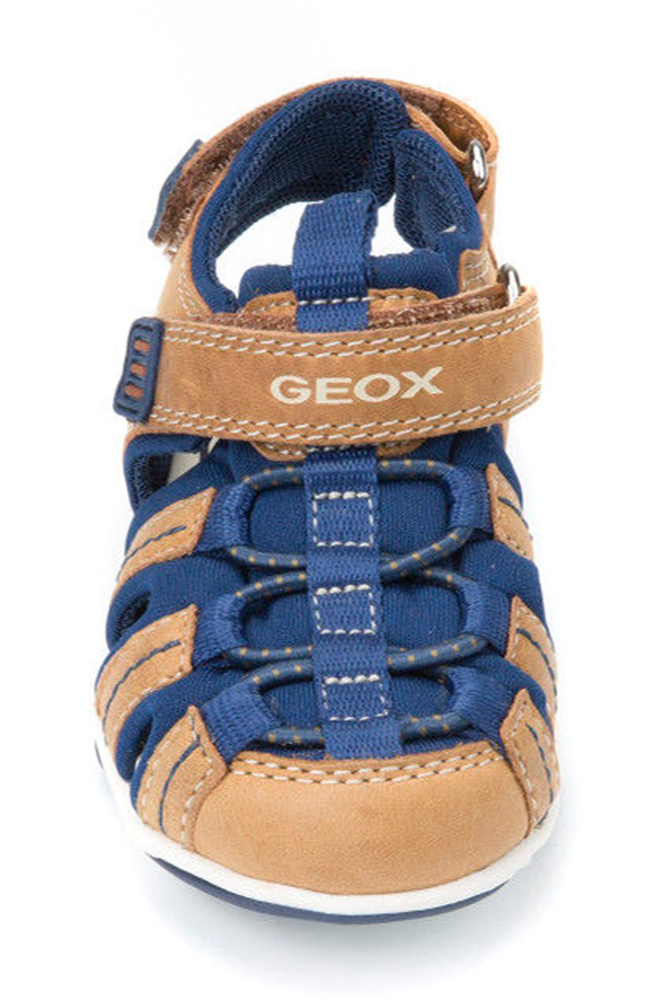 Agasim Fisherman Sandal,                             Alternate thumbnail 4, color,                             Caramel/ Navy