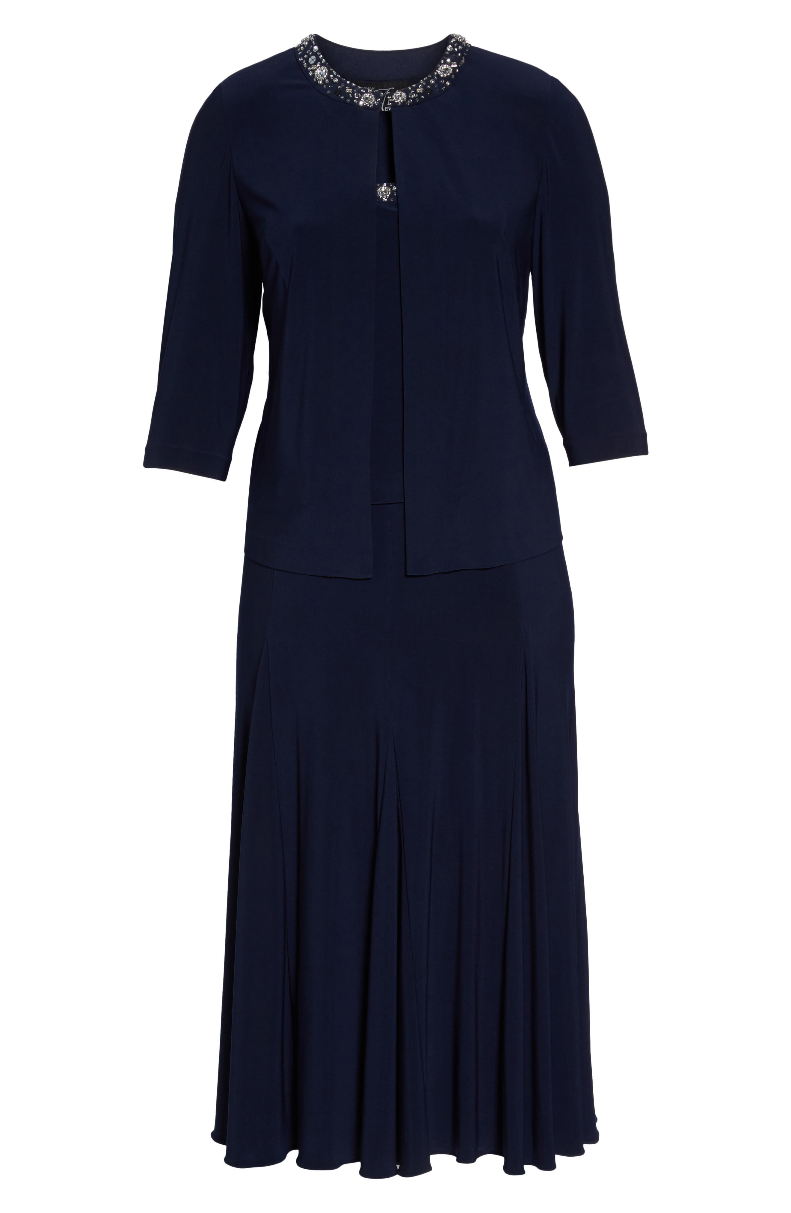 Alternate Image 6  - Alex Evenings Beaded Dress & Jacket (Plus Size)