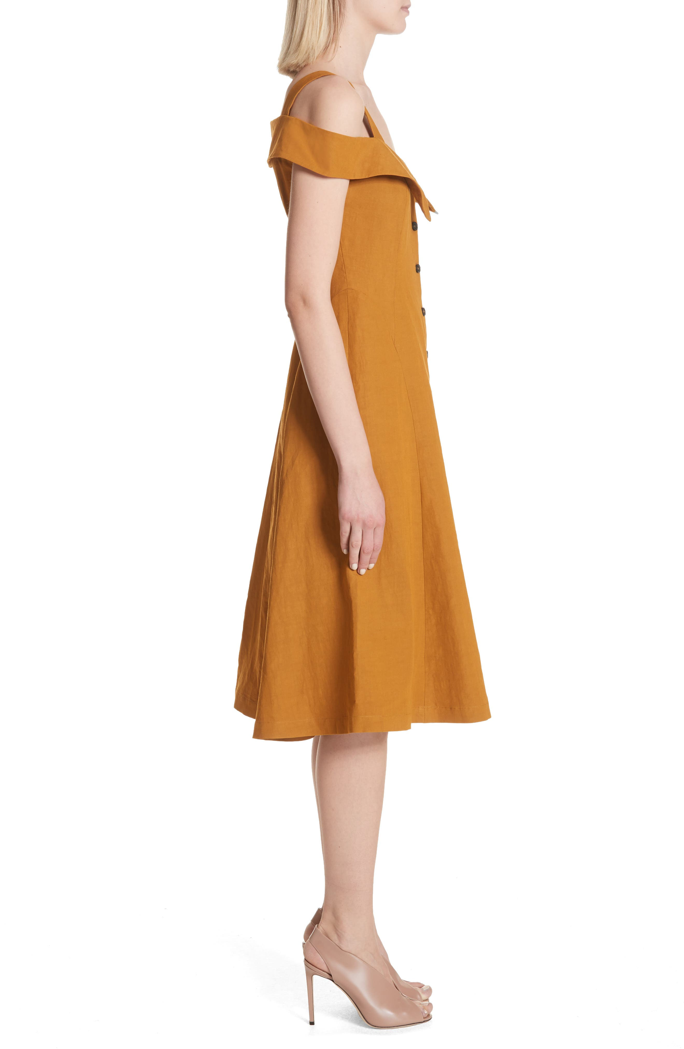 Hudson Cold Shoulder Dress,                             Alternate thumbnail 3, color,                             Gold