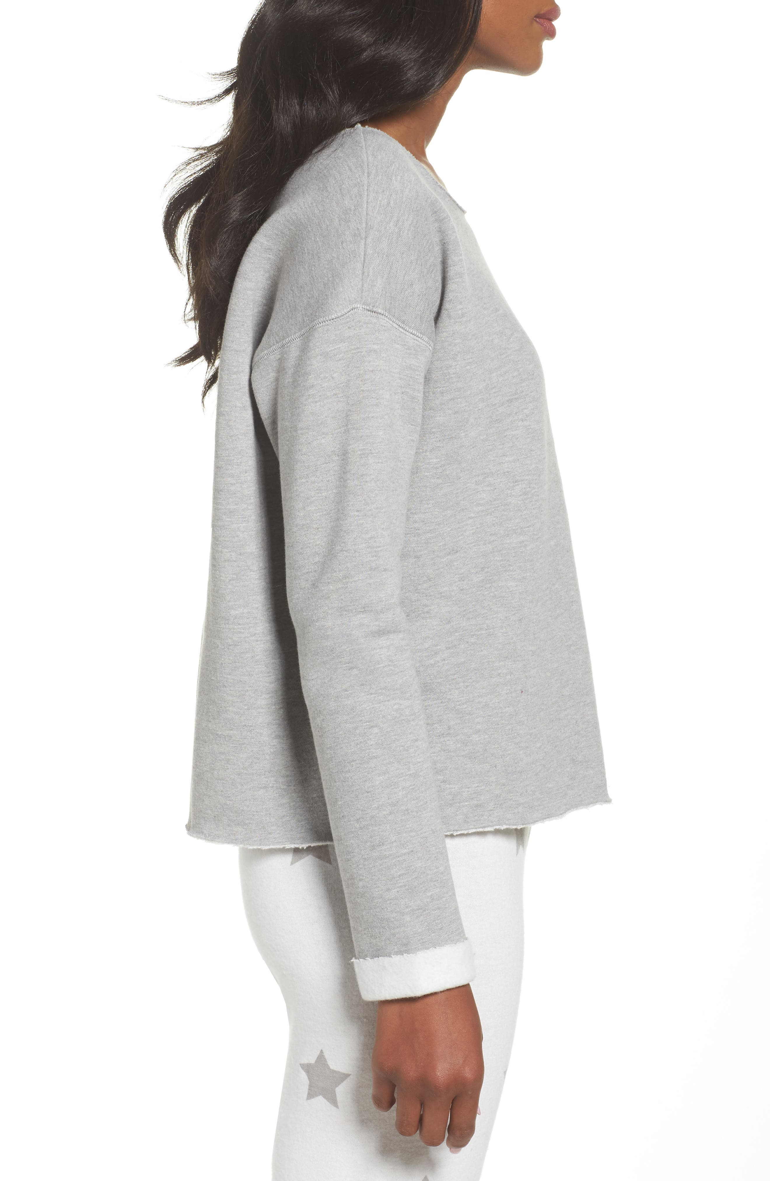 Raw Edge Pullover,                             Alternate thumbnail 3, color,                             Heather Grey