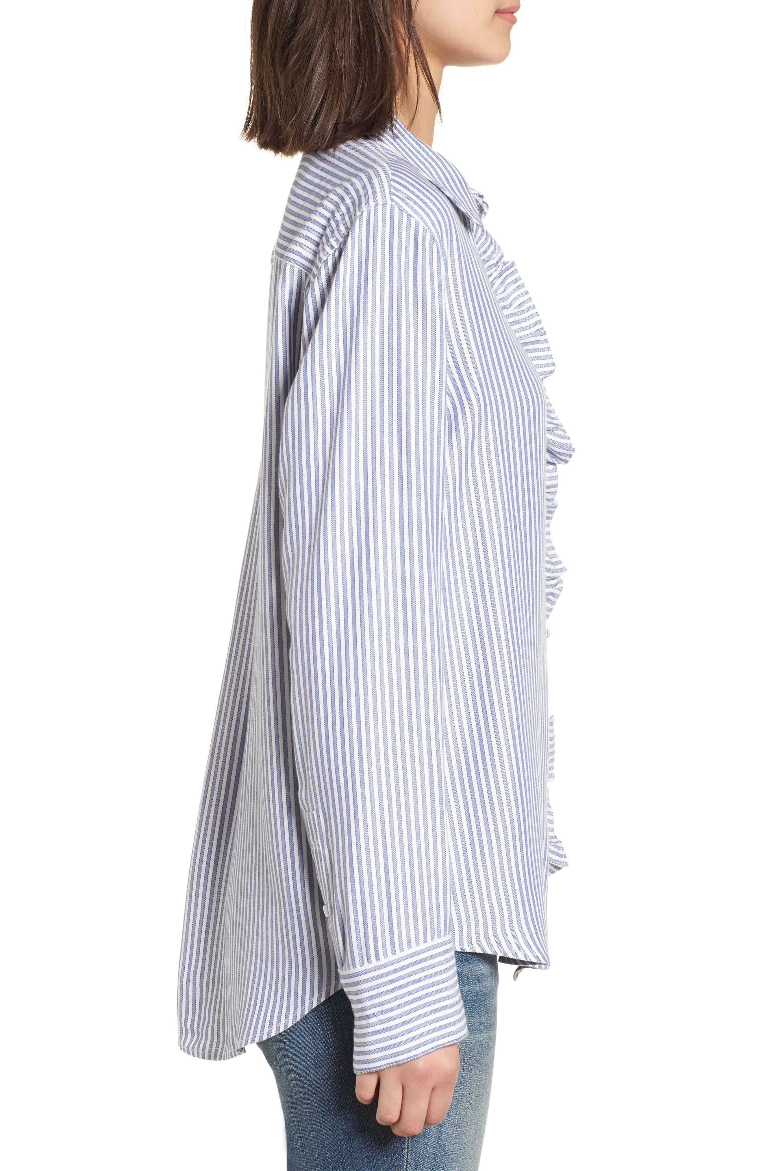 Stripe Ruffle Shirt,                             Alternate thumbnail 3, color,                             White Double Oxford Stripe