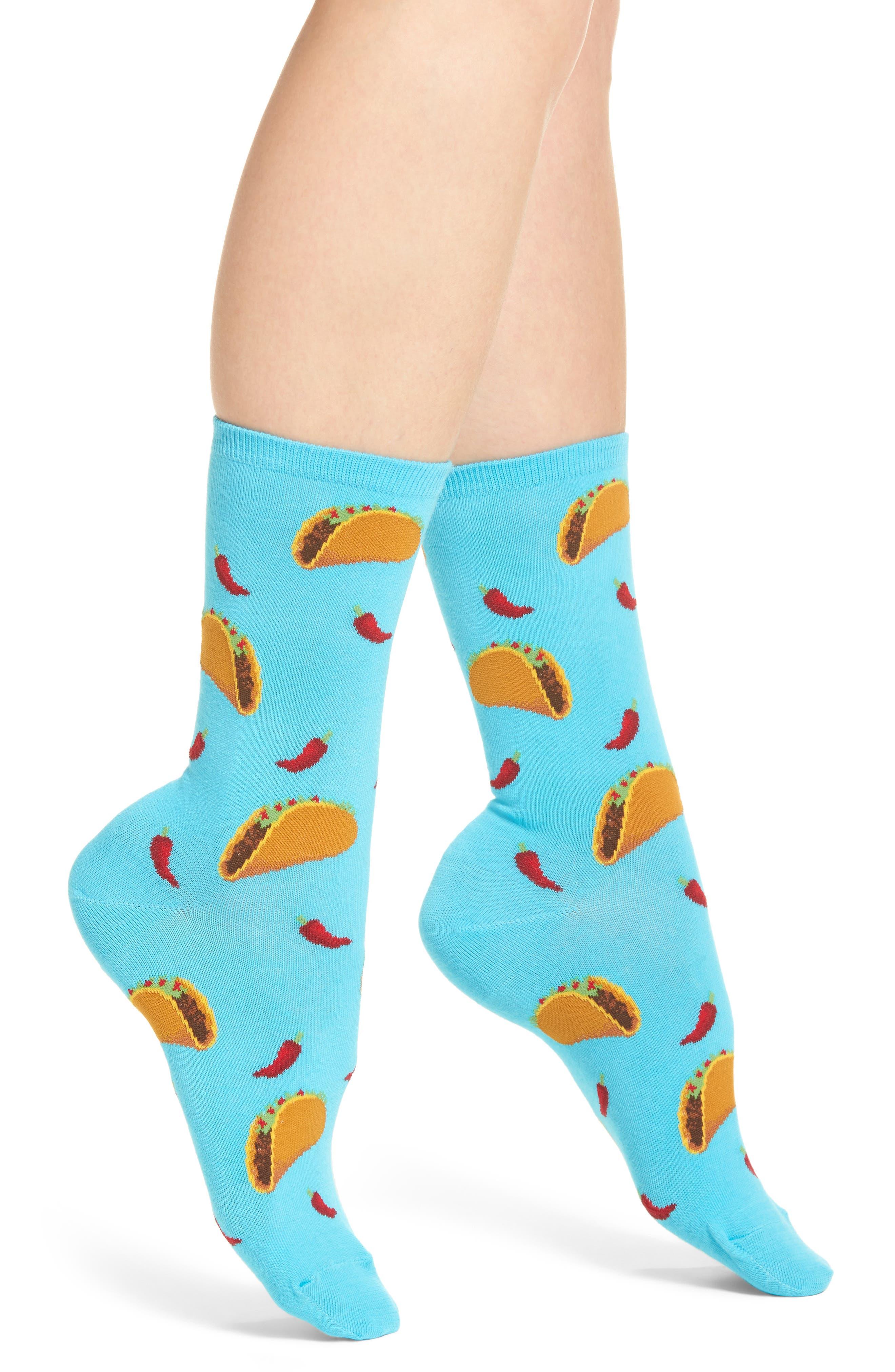 Taco Crew Socks,                         Main,                         color, Light Blue