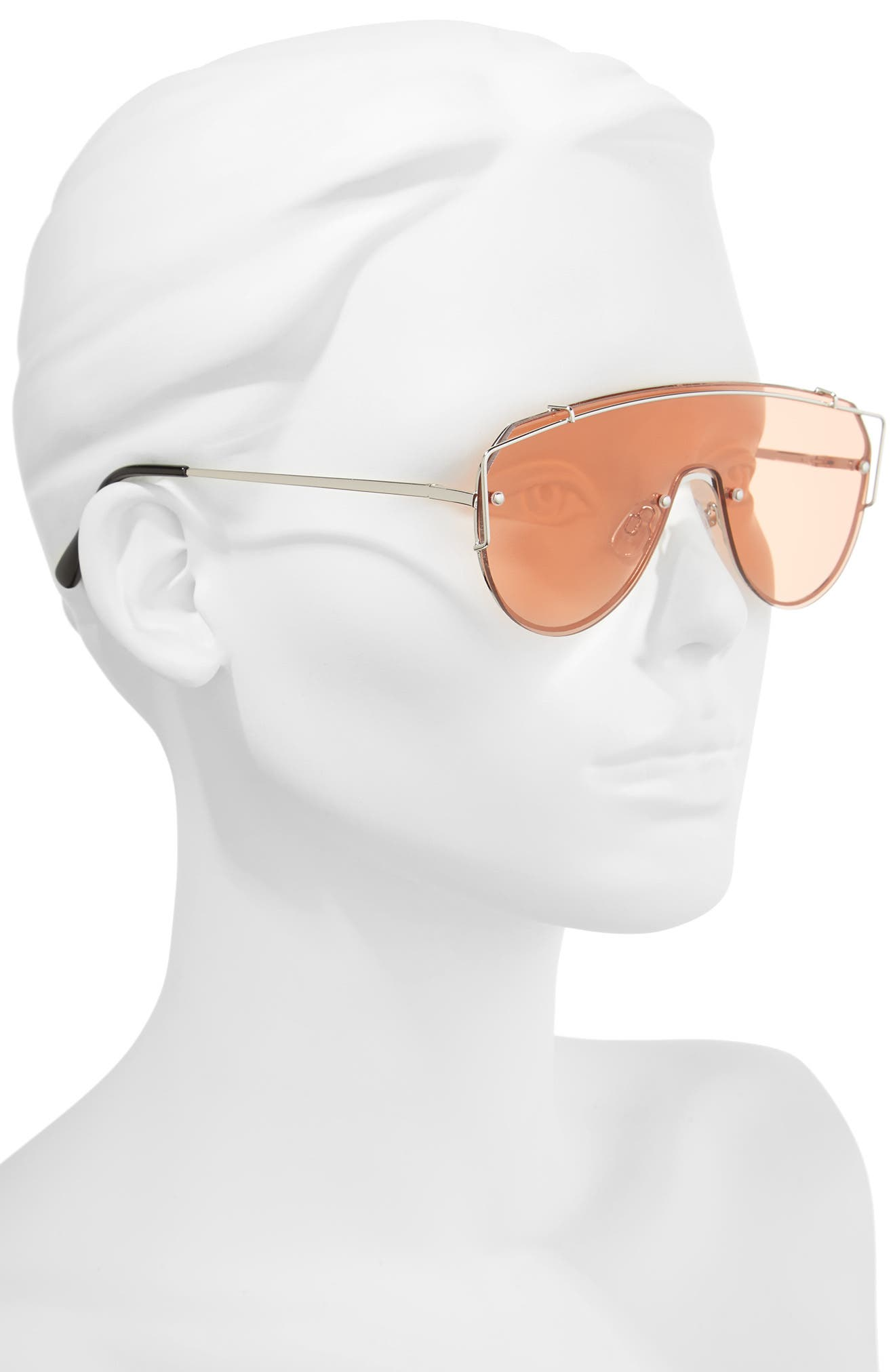 Futuristic 130mm Shield Sunglasses,                             Alternate thumbnail 2, color,                             Gold/ Pink