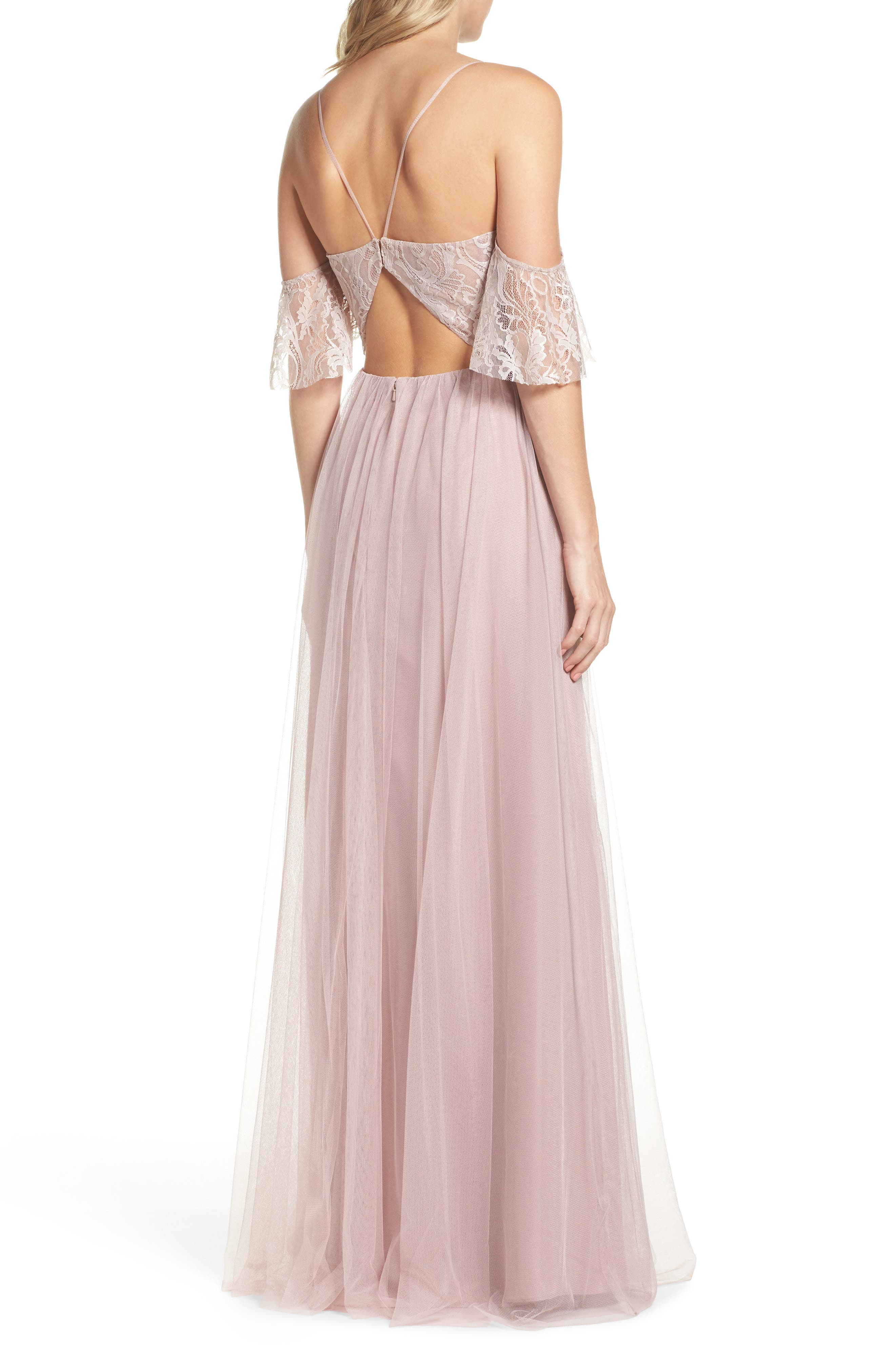 Cold Shoulder Lace Gown,                             Alternate thumbnail 2, color,                             Dusty Rose