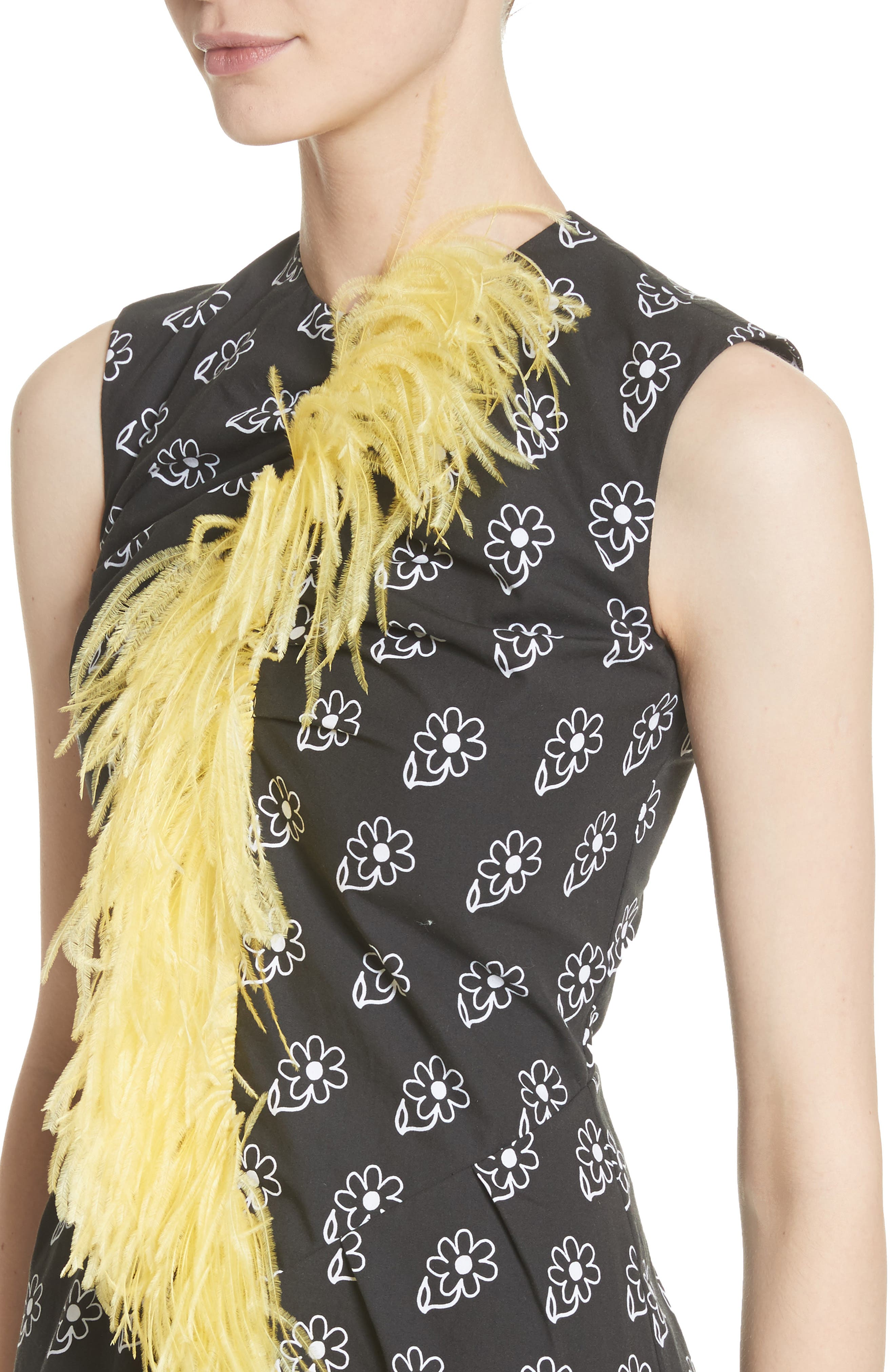Bunny Sheath Dress with Ostrich Feather Trim,                             Alternate thumbnail 4, color,                             Black Daisy