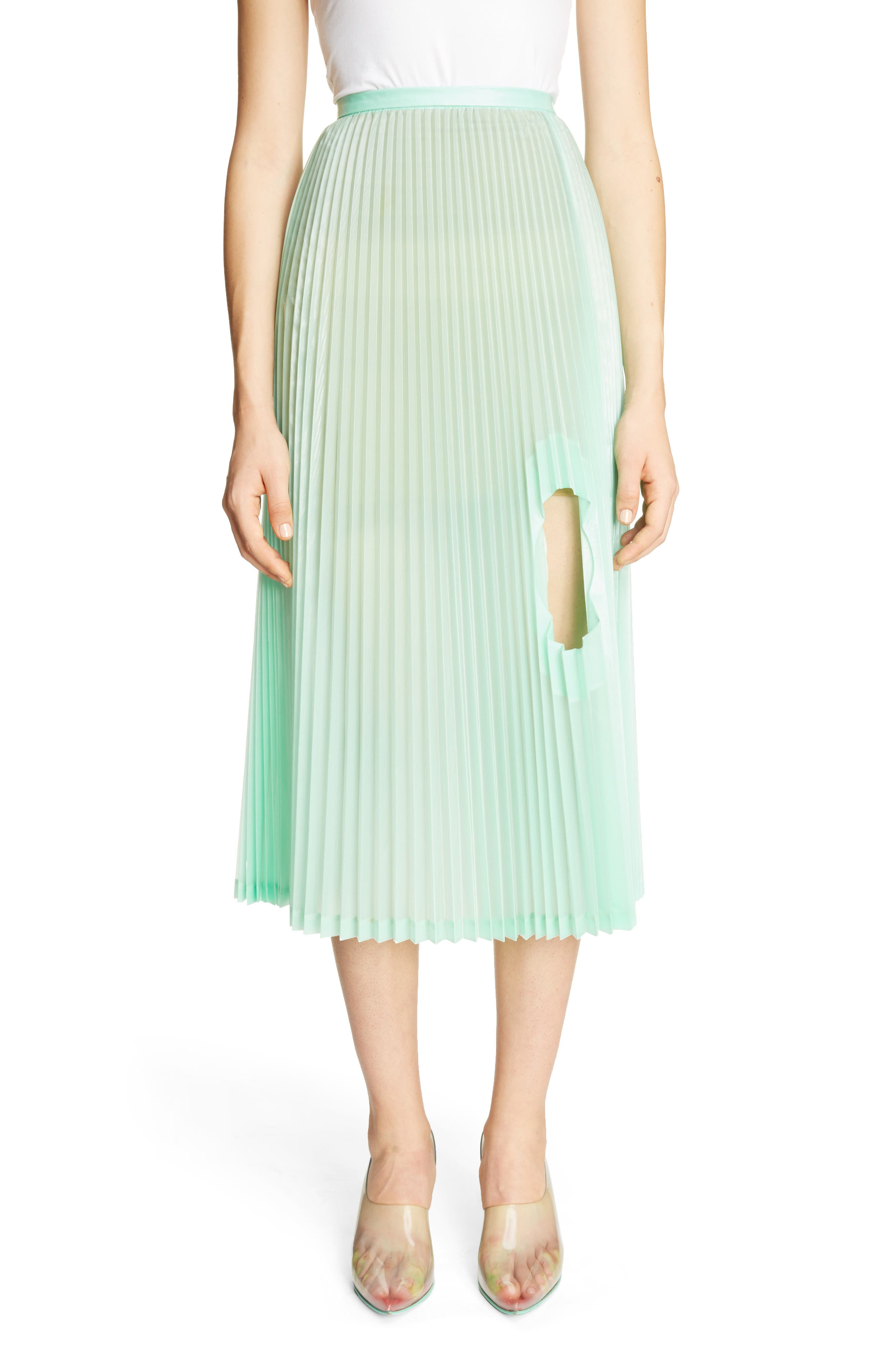 Pleated Keyhole Skirt,                         Main,                         color, Light Green