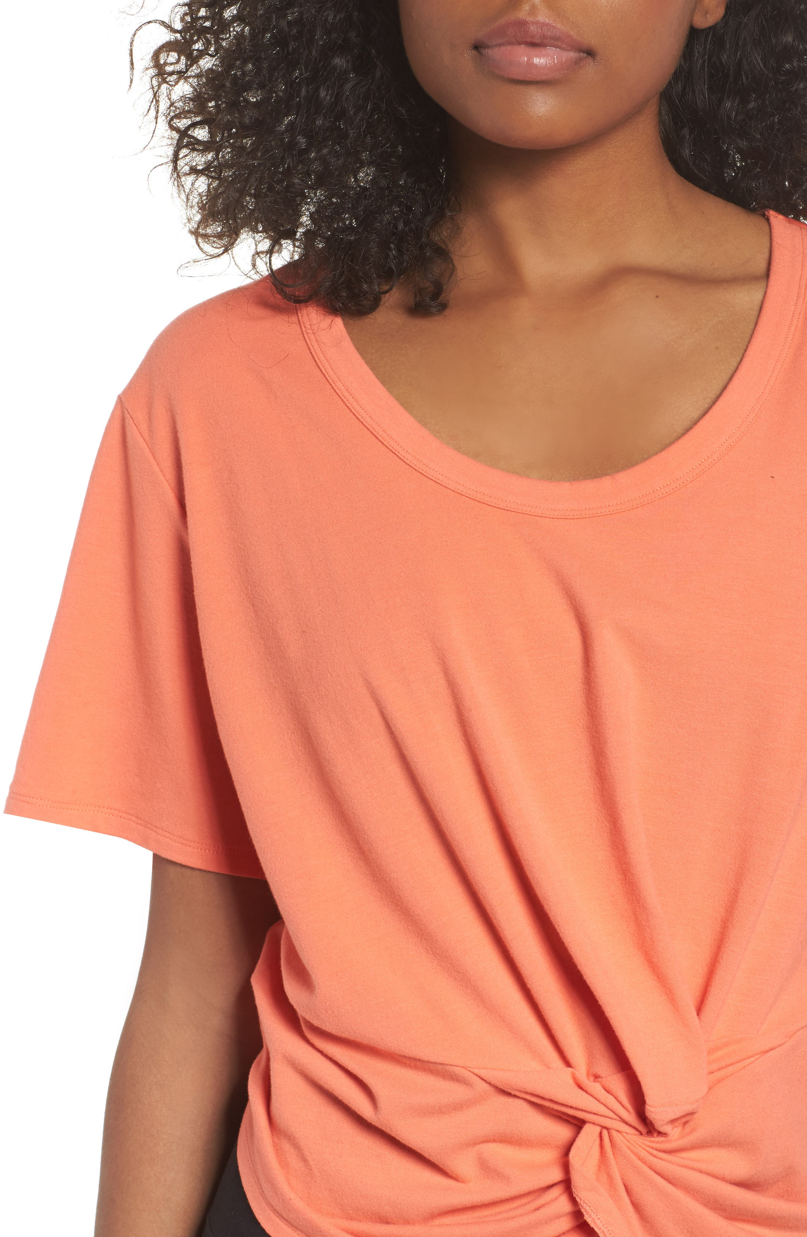 Knotty Crop Tee,                             Alternate thumbnail 4, color,                             Coral Reef