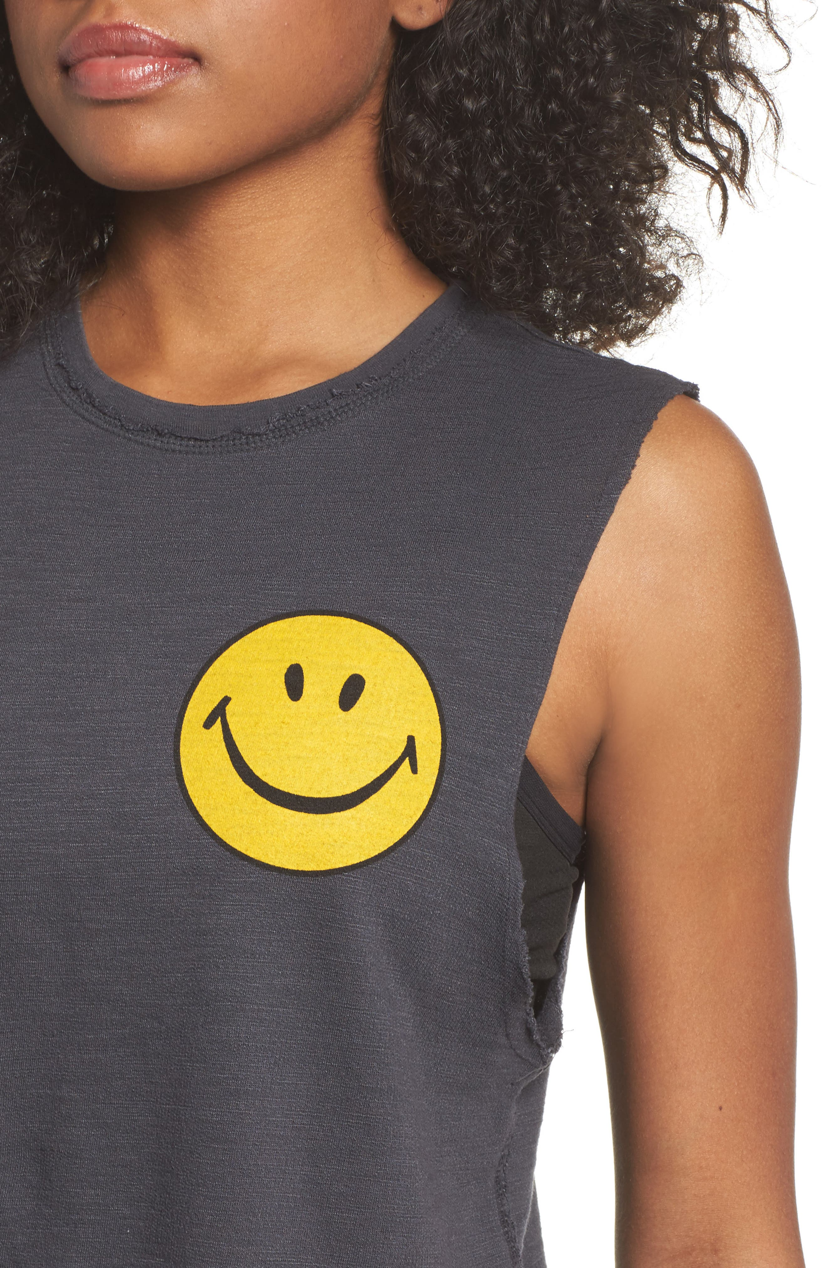 Smiley Muscle Tee,                             Alternate thumbnail 4, color,                             Vintage Coal
