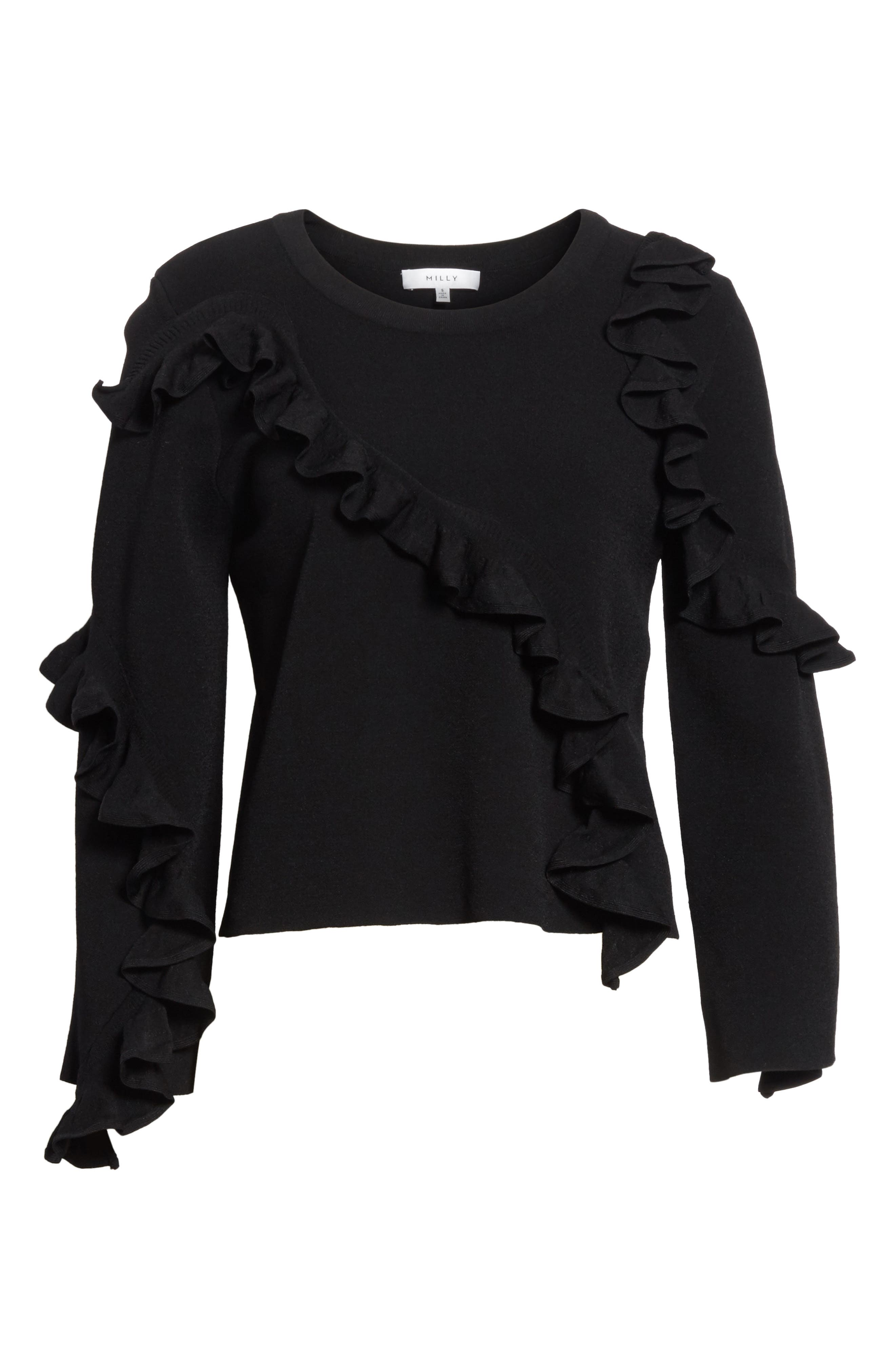 Abstract Ruffle Pullover,                             Alternate thumbnail 6, color,                             Black