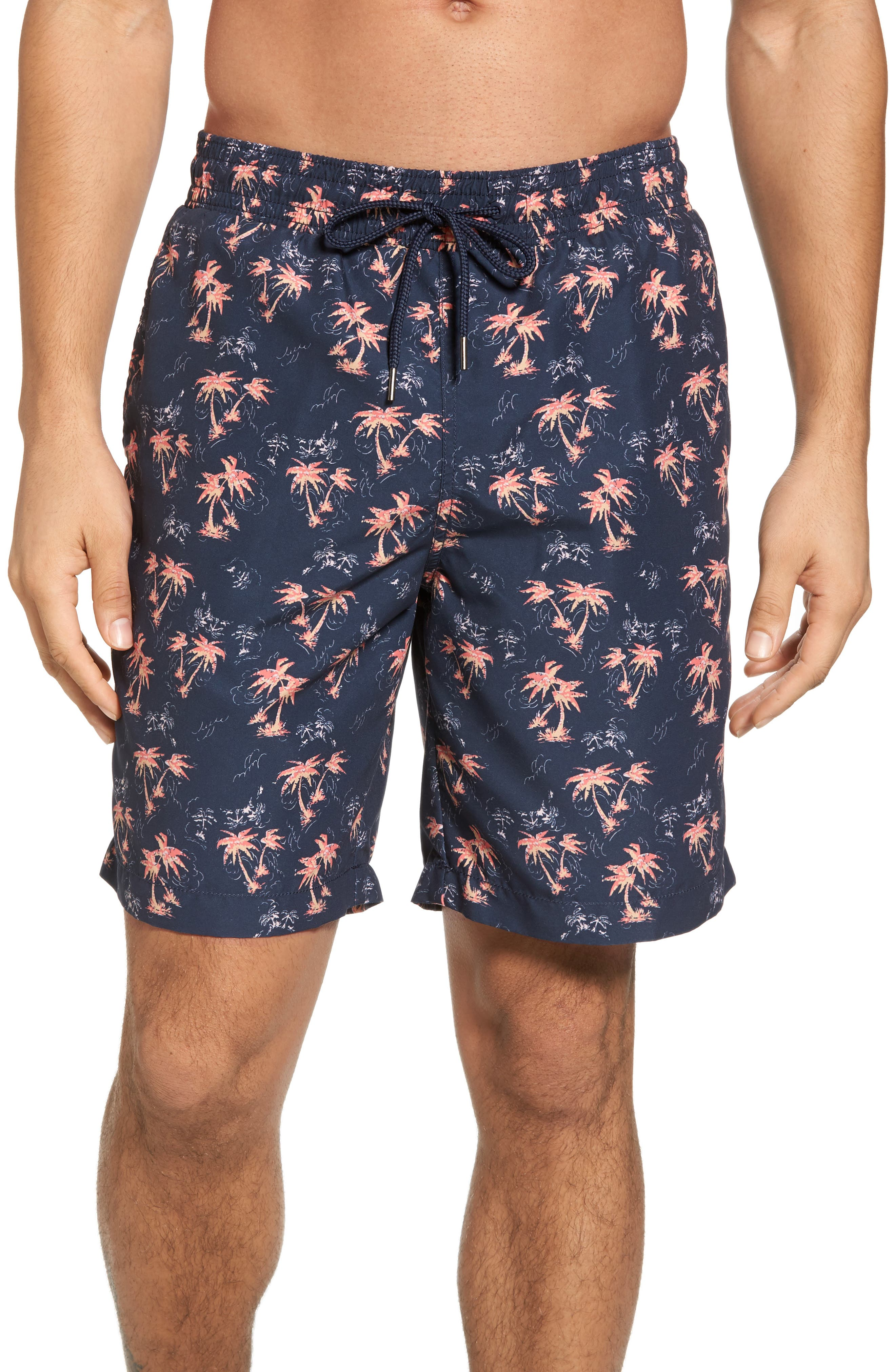 Burning Palm Swim Trunks,                             Main thumbnail 1, color,                             Carbon Spice Coral