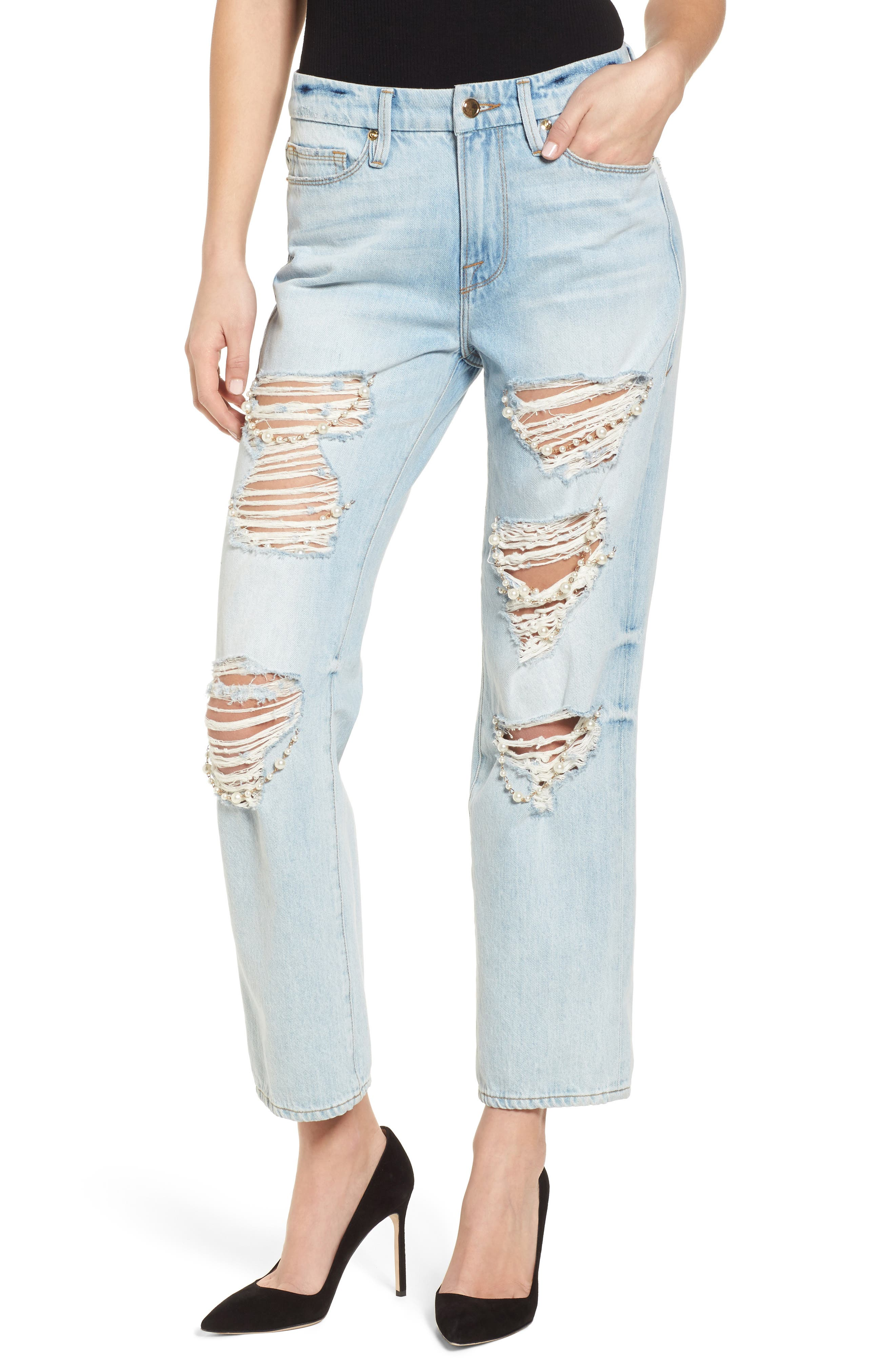 Good American Good Straight Pearls High Waist Jeans (Blue 143) (Regular & Plus Size)