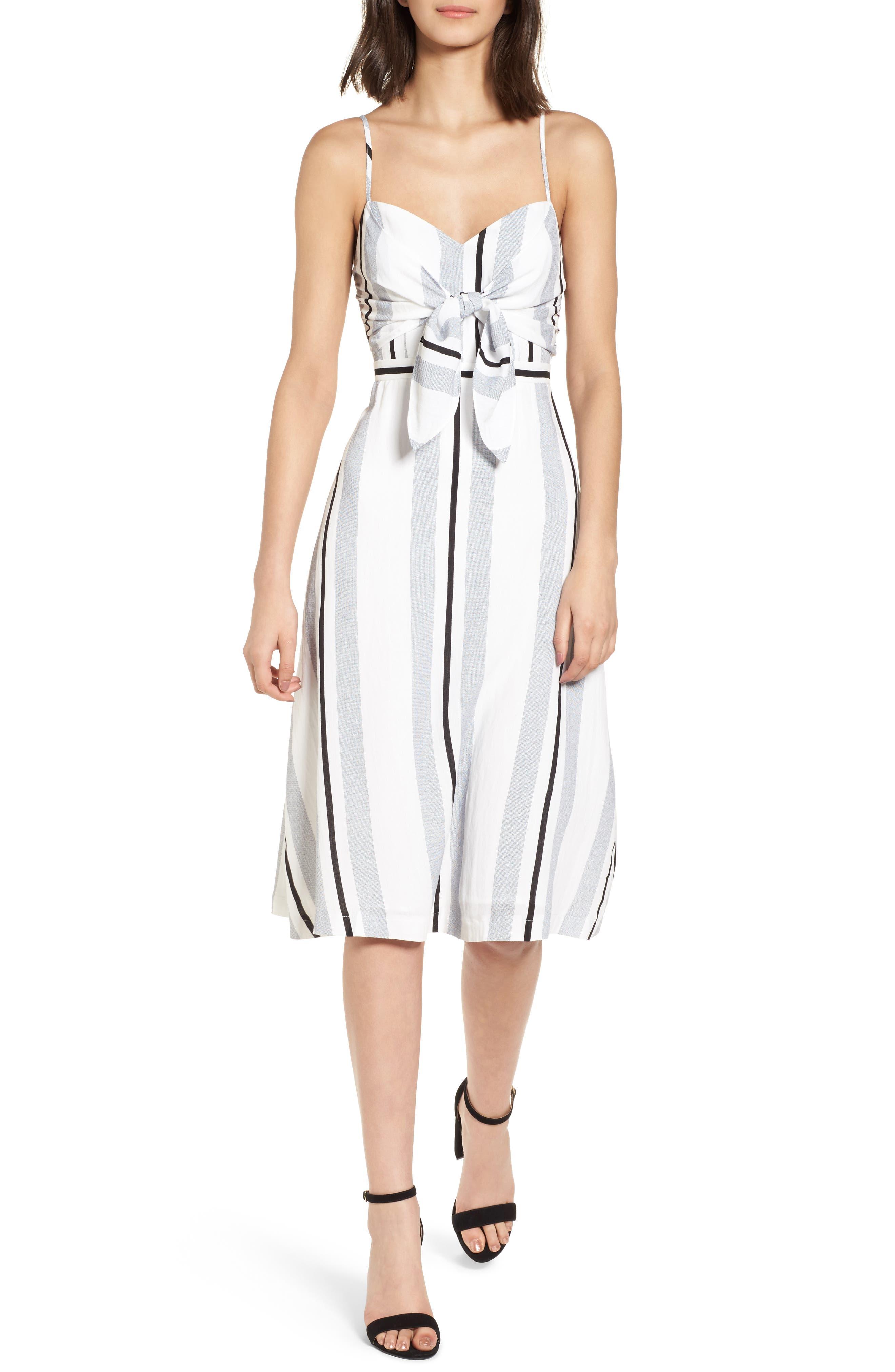 Stripe Tie Front Midi Dress,                         Main,                         color, Blue/ White Stripe