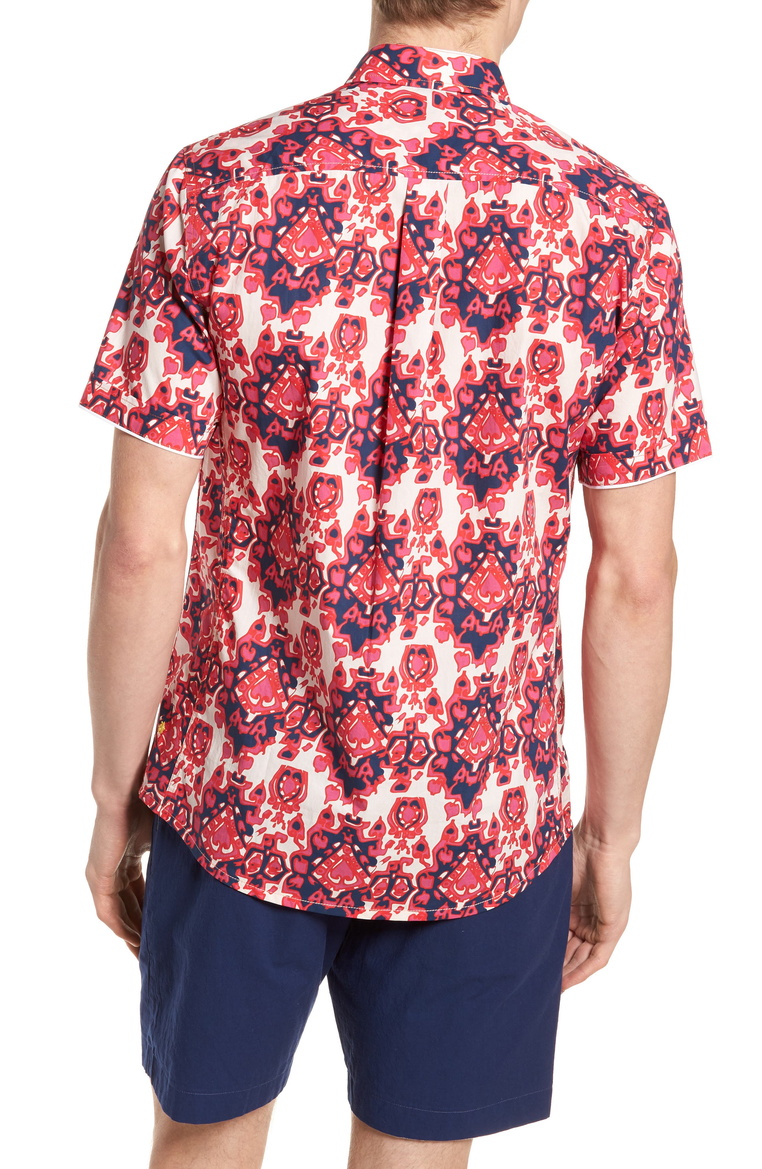 Abstract Culture Woven Shirt,                             Alternate thumbnail 3, color,                             Punch Red