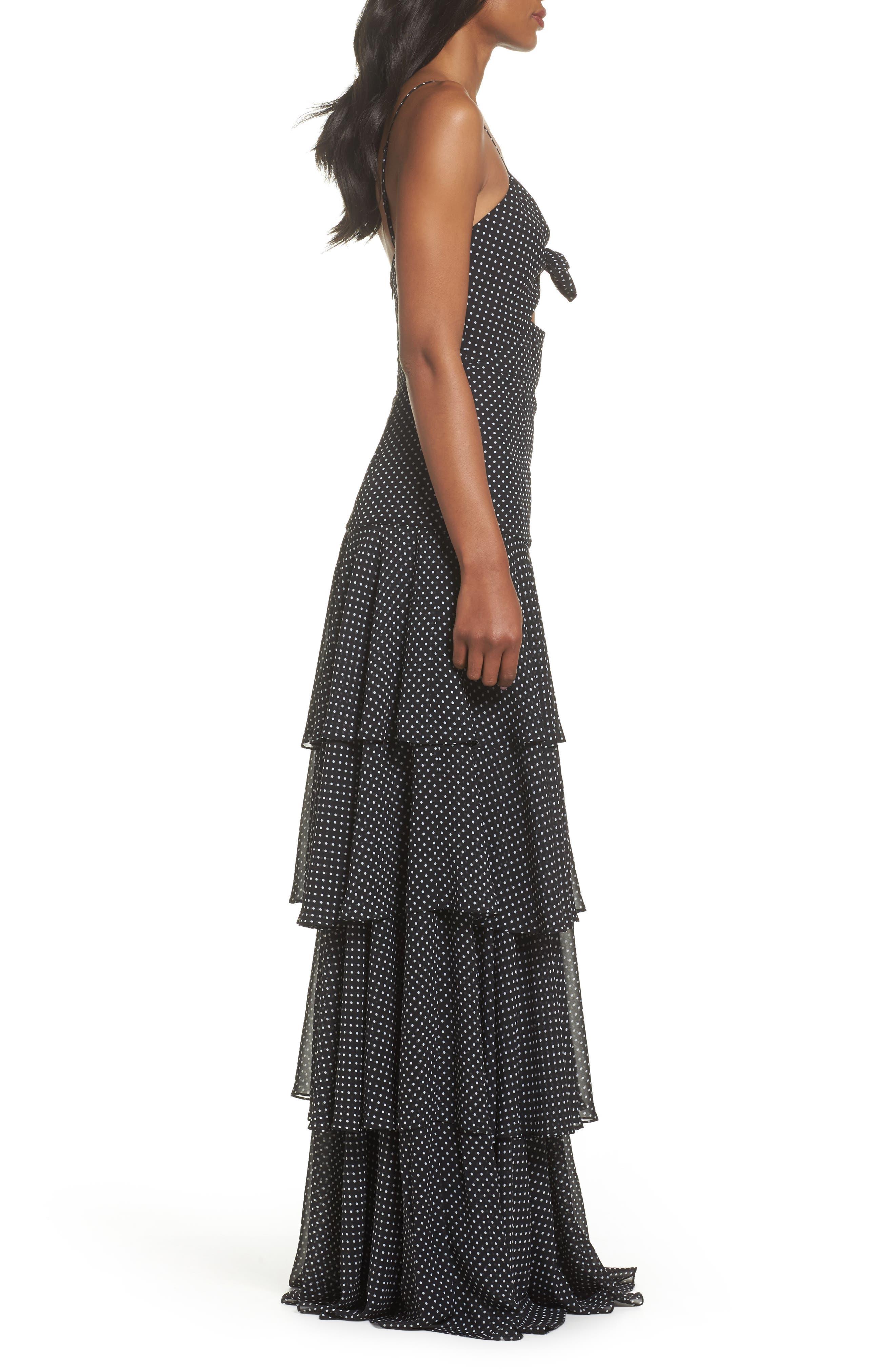 Polka Dot Tiered Gown,                             Alternate thumbnail 2, color,                             Black/ White
