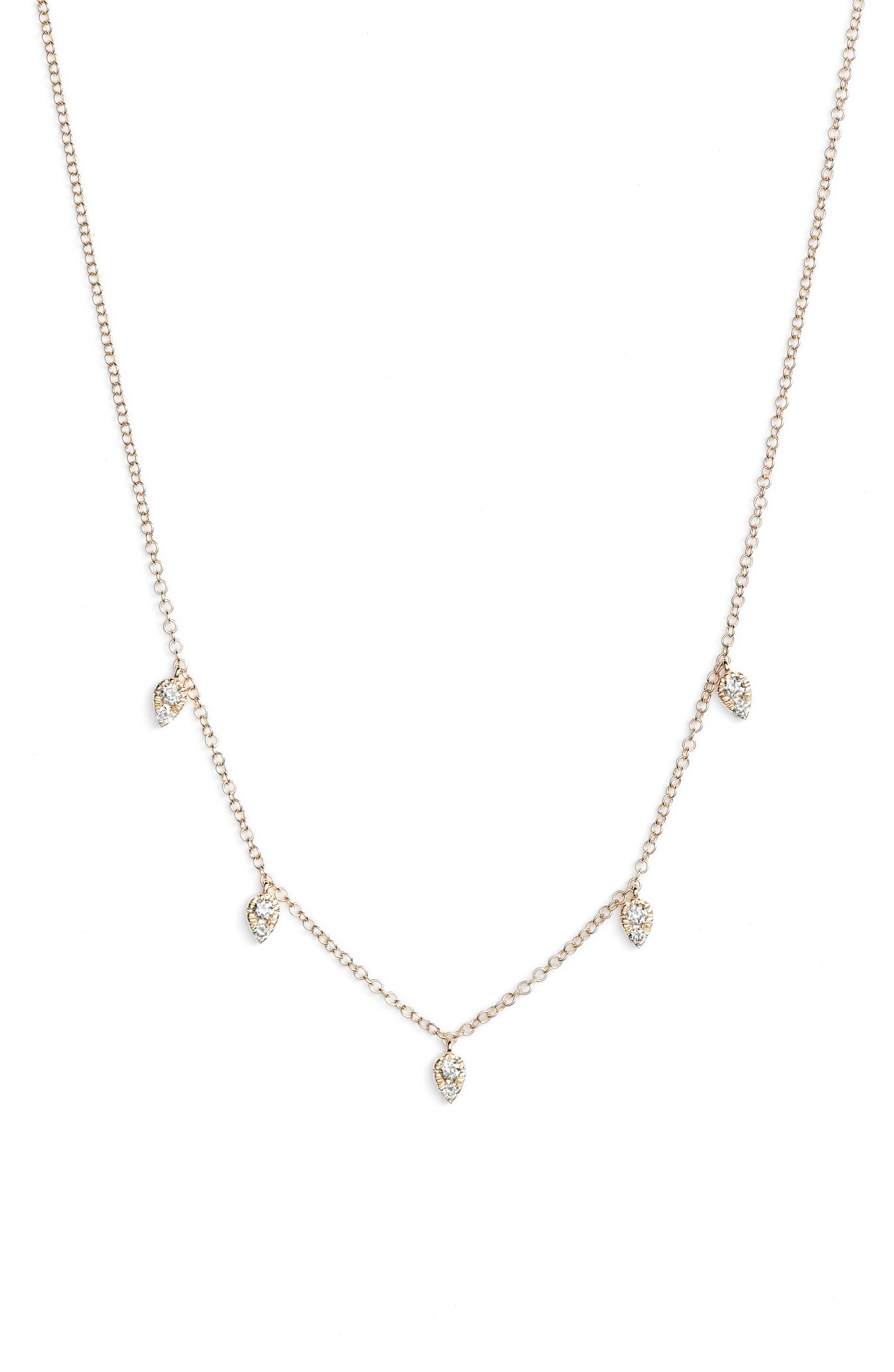 Mini Multi Teardrop Choker Necklace,                             Alternate thumbnail 2, color,                             Yellow Gold