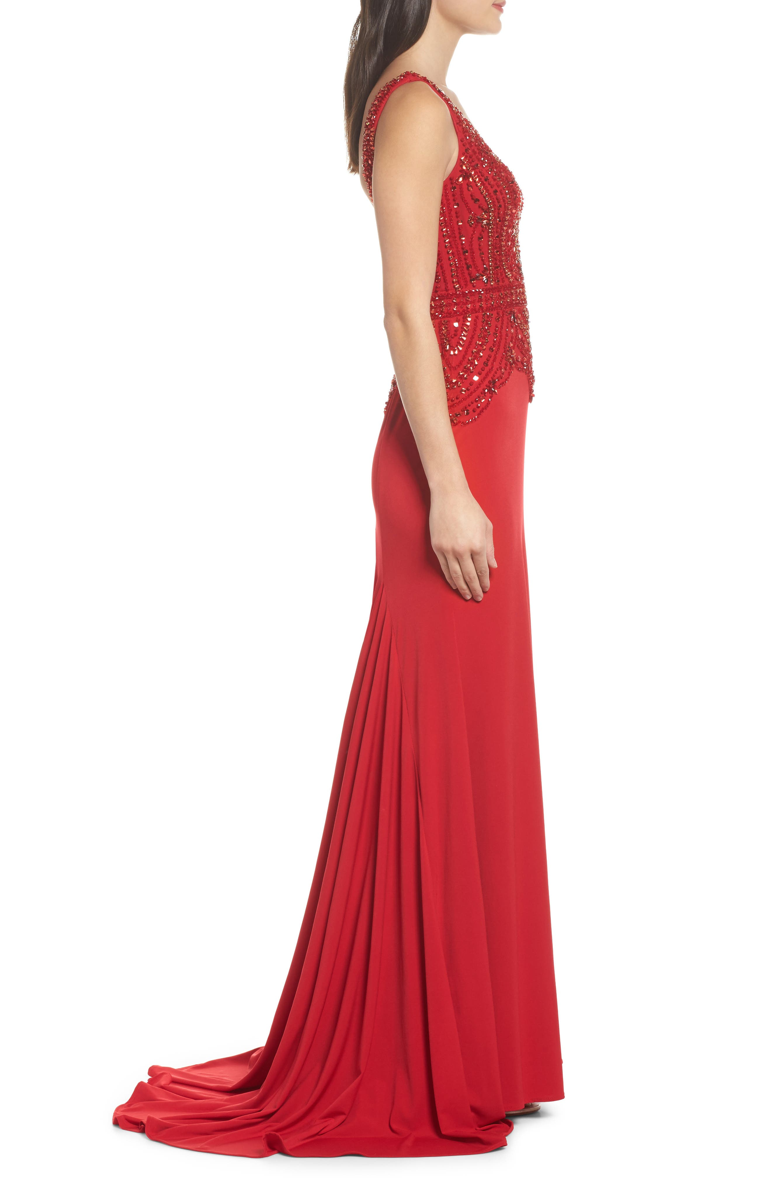 Beaded Bodice Sheath Gown,                             Alternate thumbnail 3, color,                             Red
