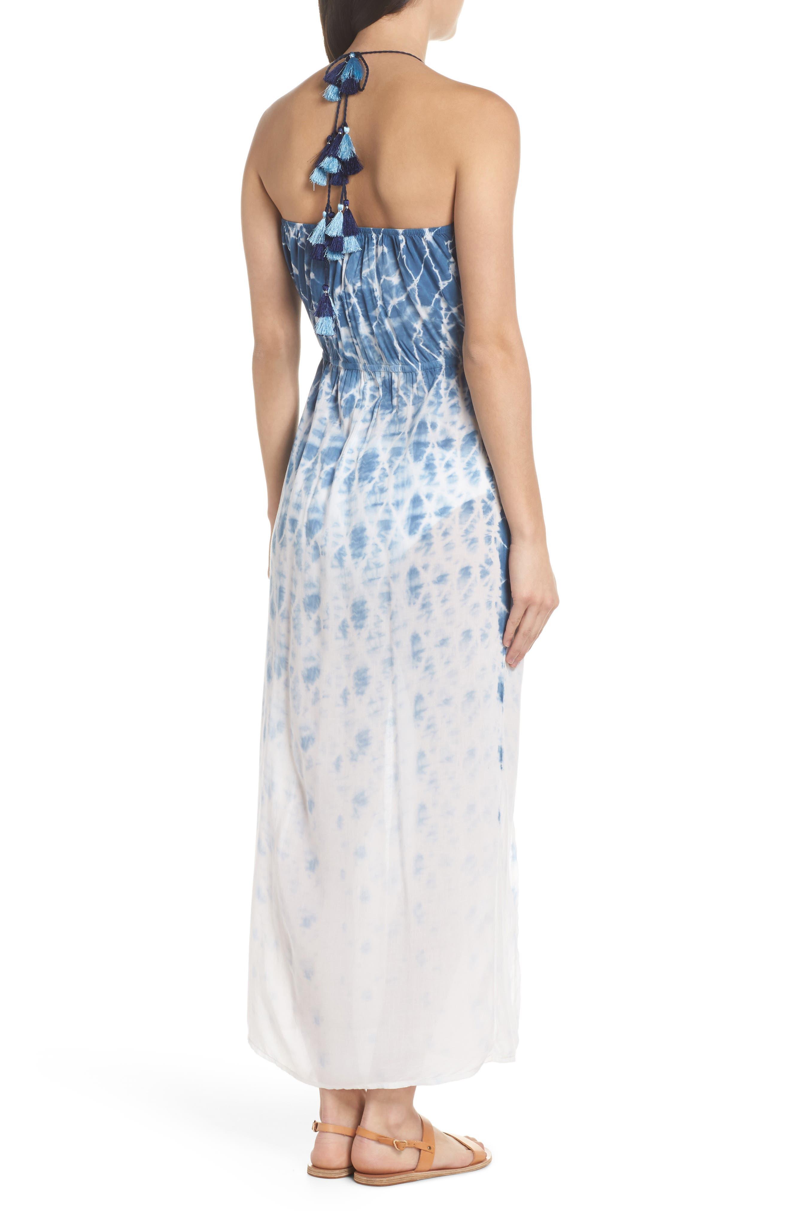 Tie Dye Halter Cover-Up Maxi Dress,                             Alternate thumbnail 2, color,                             Navy