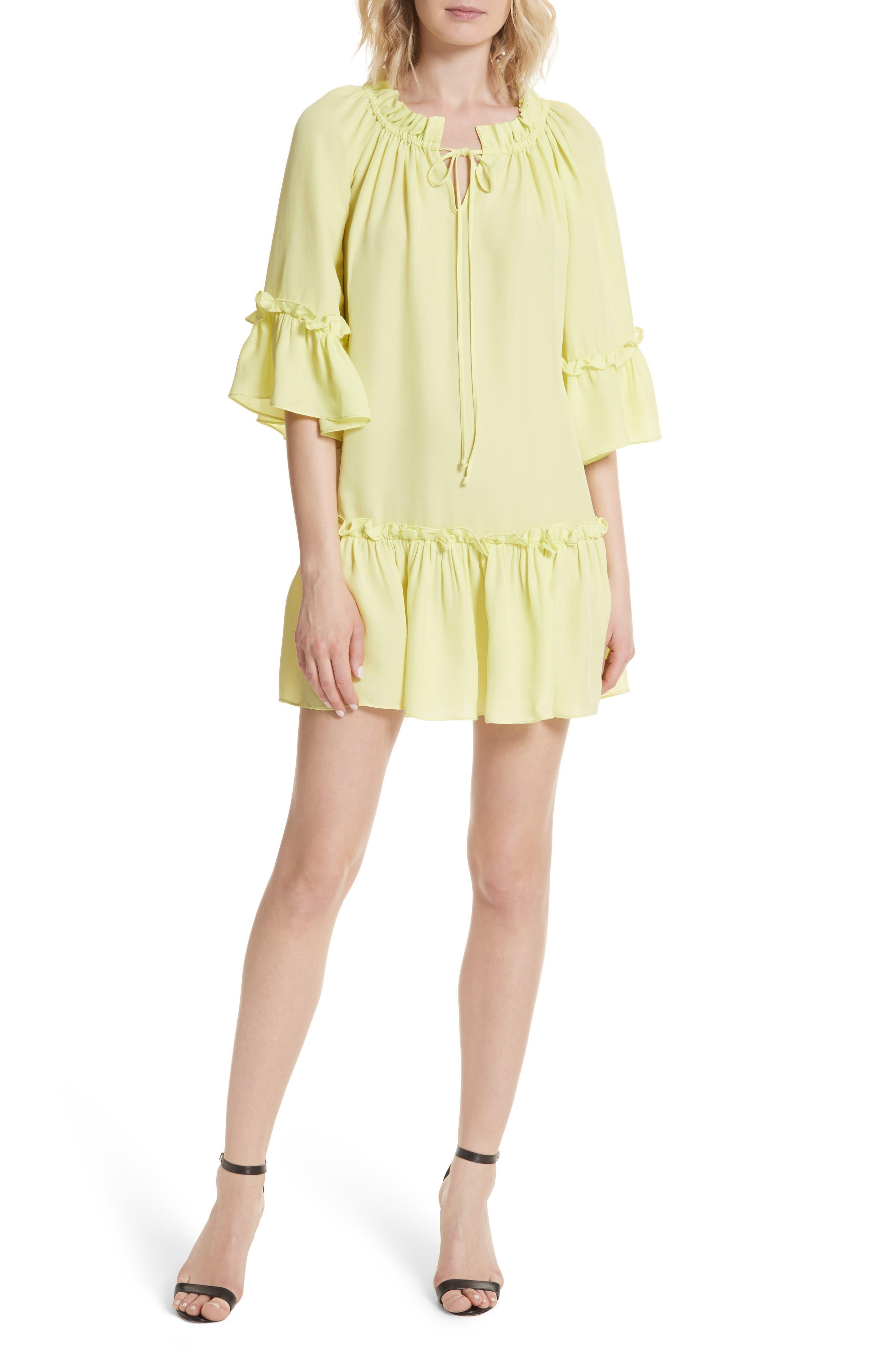 Santorini Ruffle Mini Dress,                             Main thumbnail 1, color,                             Lemon Yellow