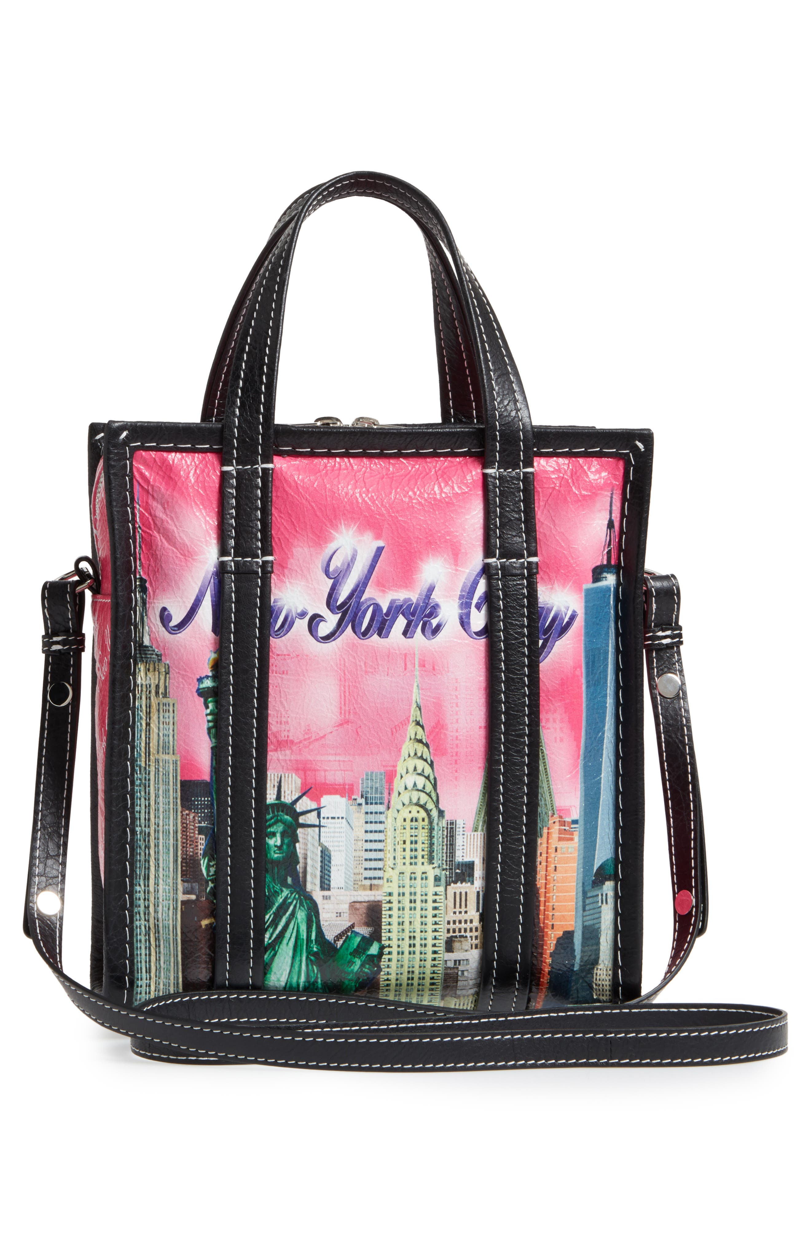 Extra Small Bazaar Leather Shopper,                             Alternate thumbnail 3, color,                             New York City Pink Multi