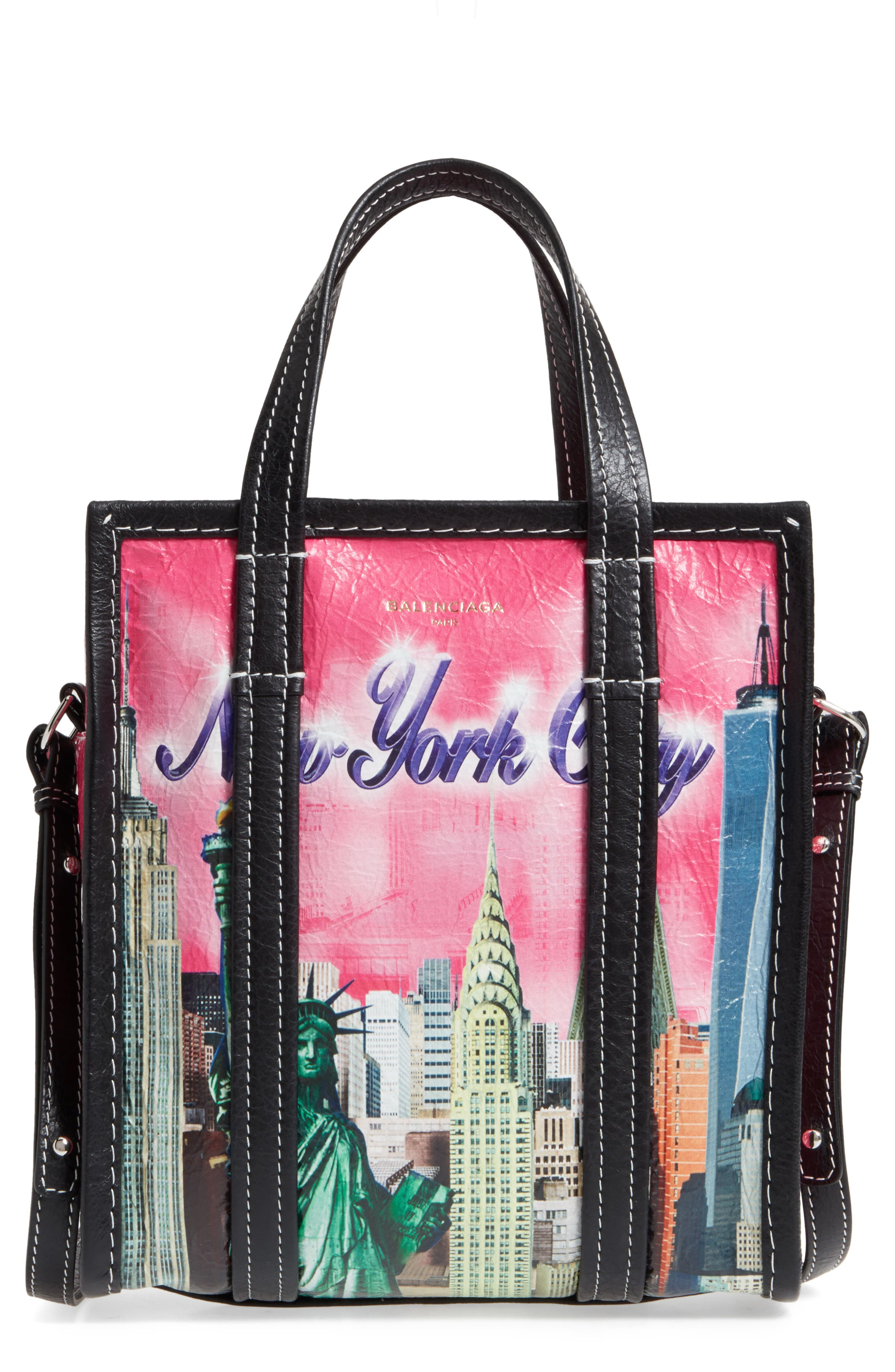 Extra Small Bazaar Leather Shopper,                         Main,                         color, New York City Pink Multi