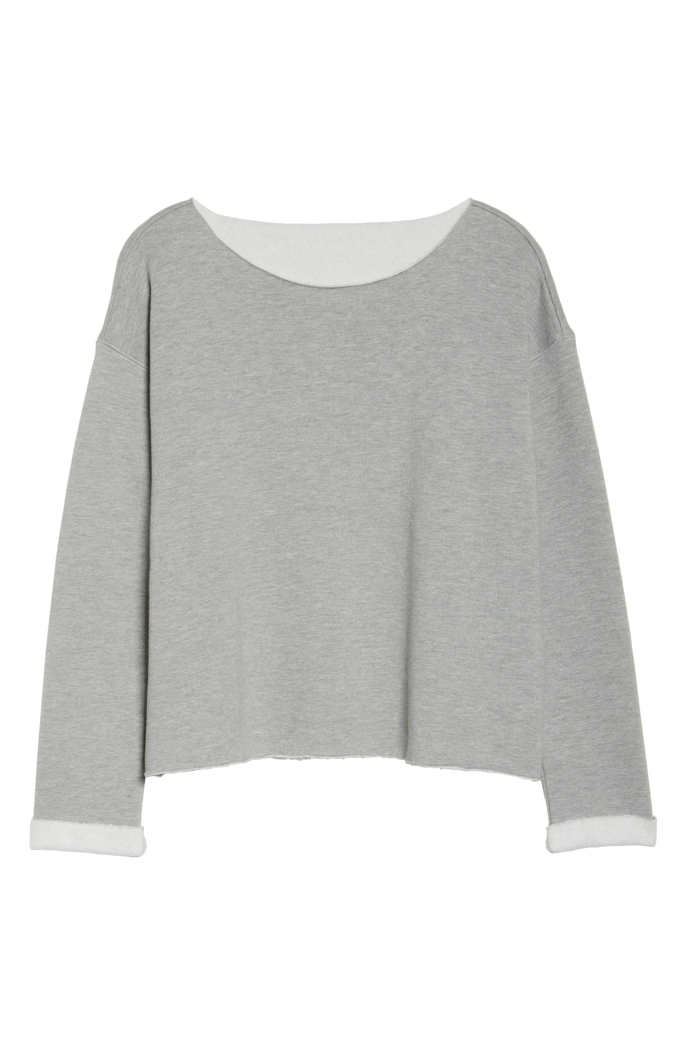 Raw Edge Pullover,                             Alternate thumbnail 4, color,                             Heather Grey