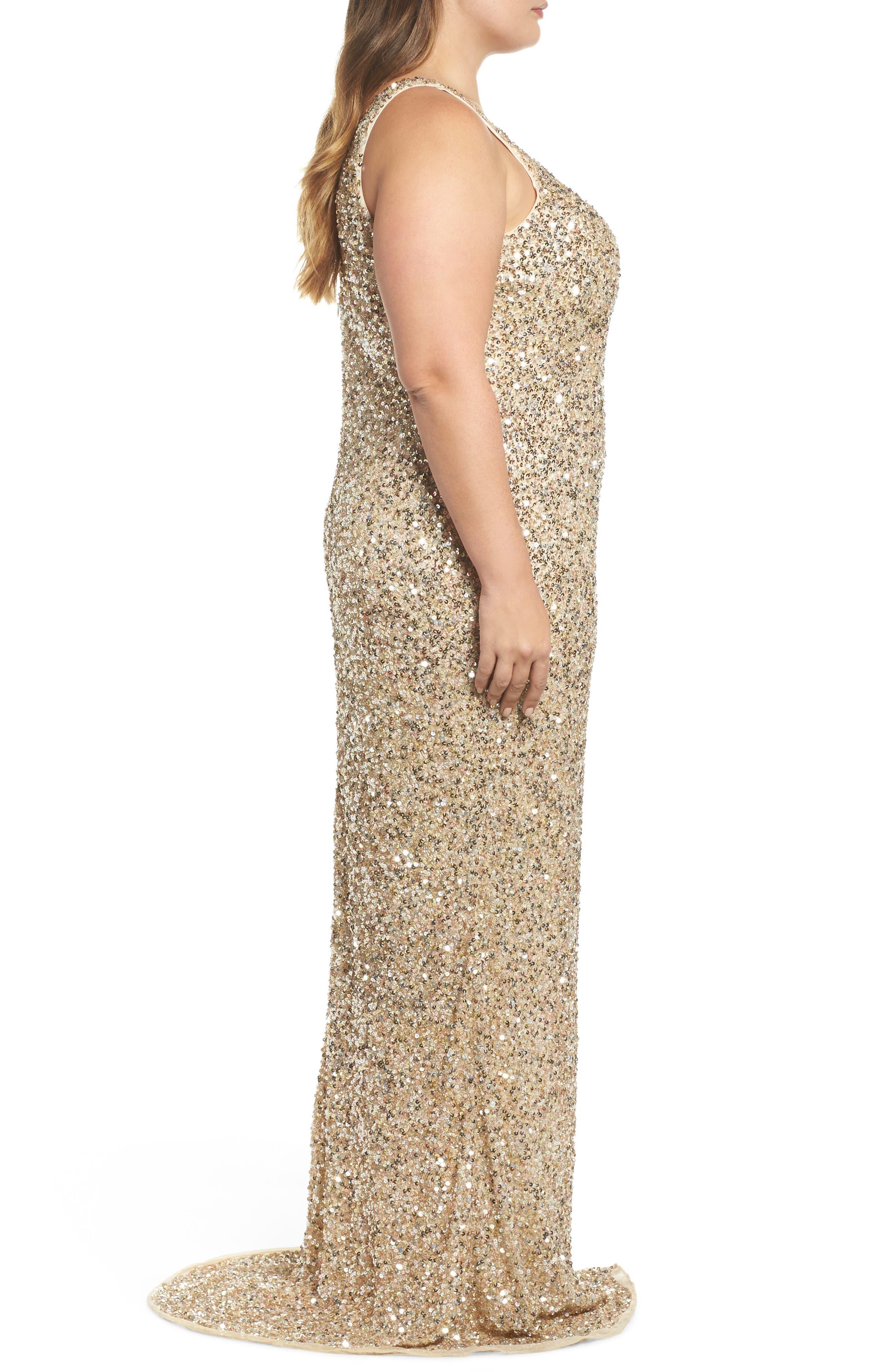 Front Slit Sequin Gown,                             Alternate thumbnail 3, color,                             Gold Multi