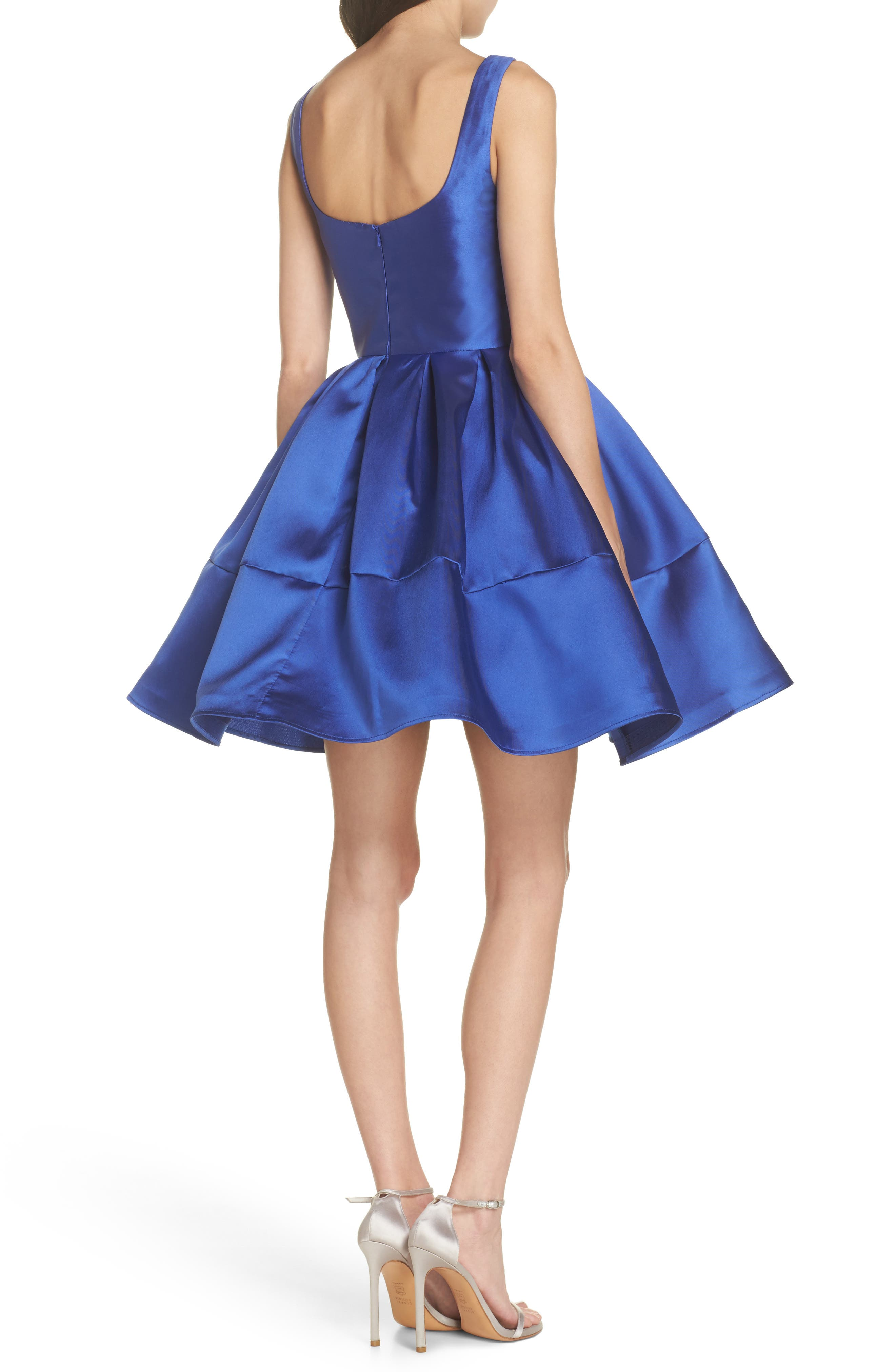 Square Neck Mikado Party Dress,                             Alternate thumbnail 2, color,                             Royal