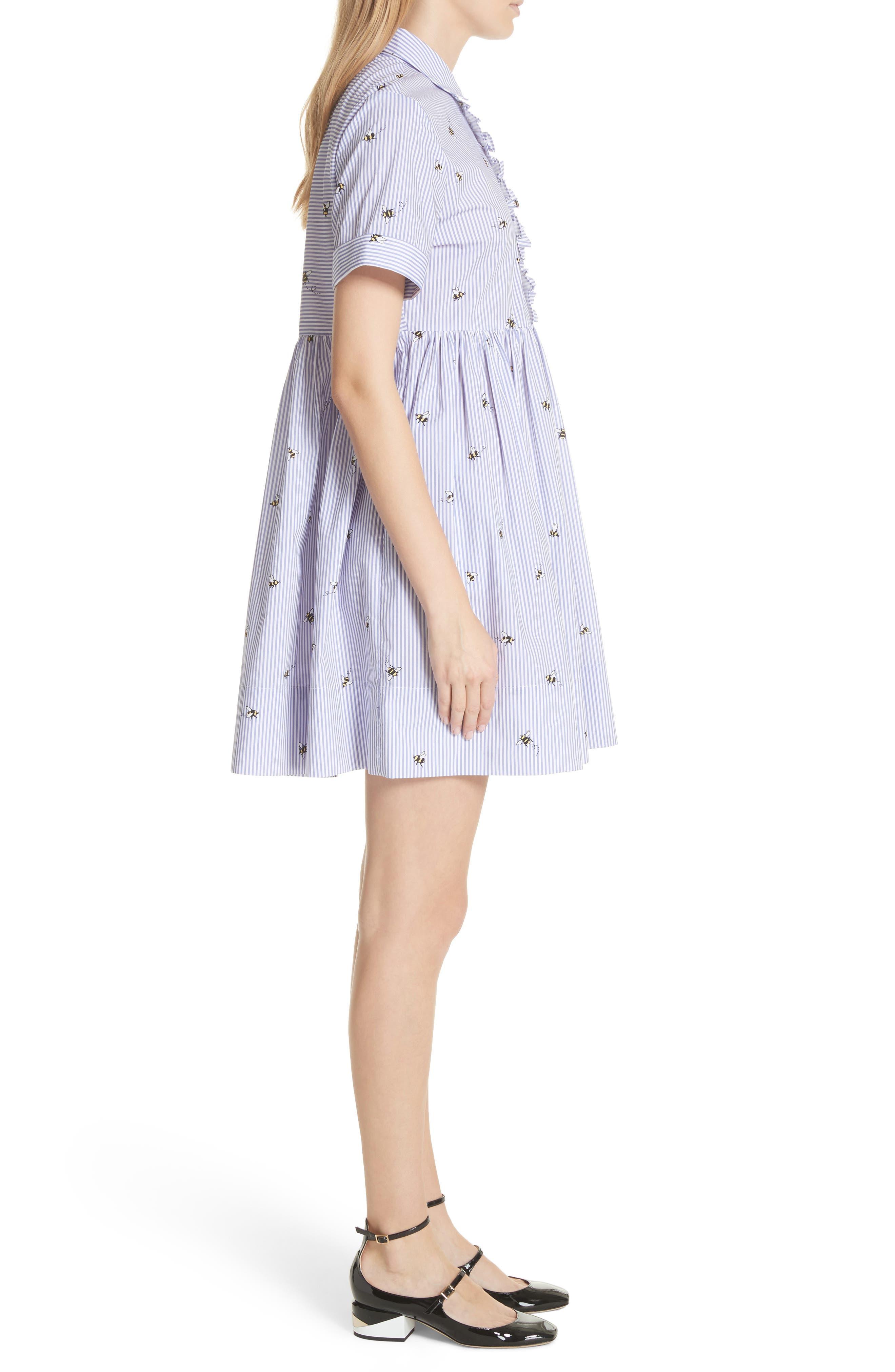 abuzz poplin shirtdress,                             Alternate thumbnail 3, color,                             Fresh White/ Rich Lapis