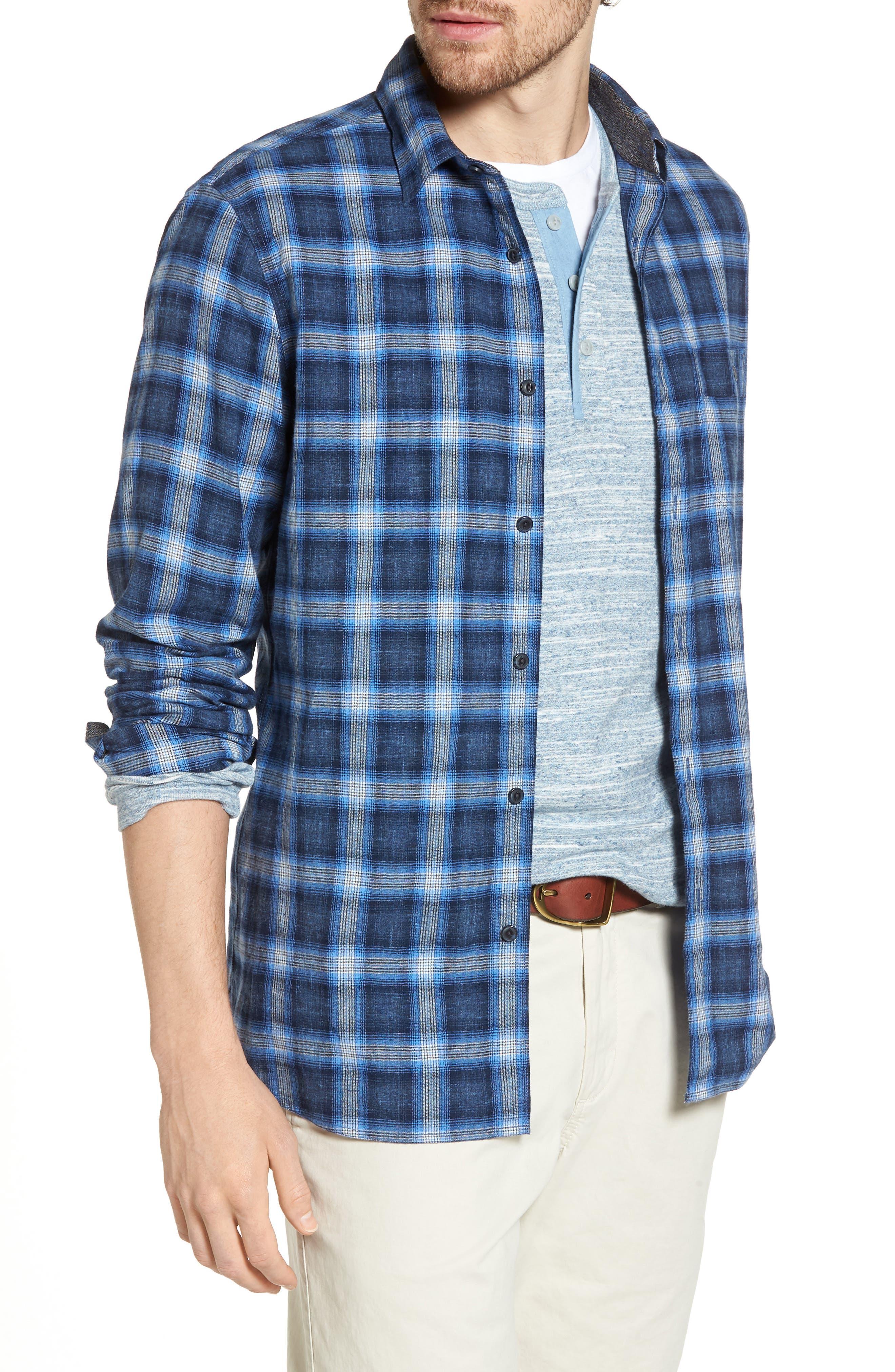 Trim Fit Plaid Sport Shirt,                         Main,                         color, Black Blue Homespun Plaid