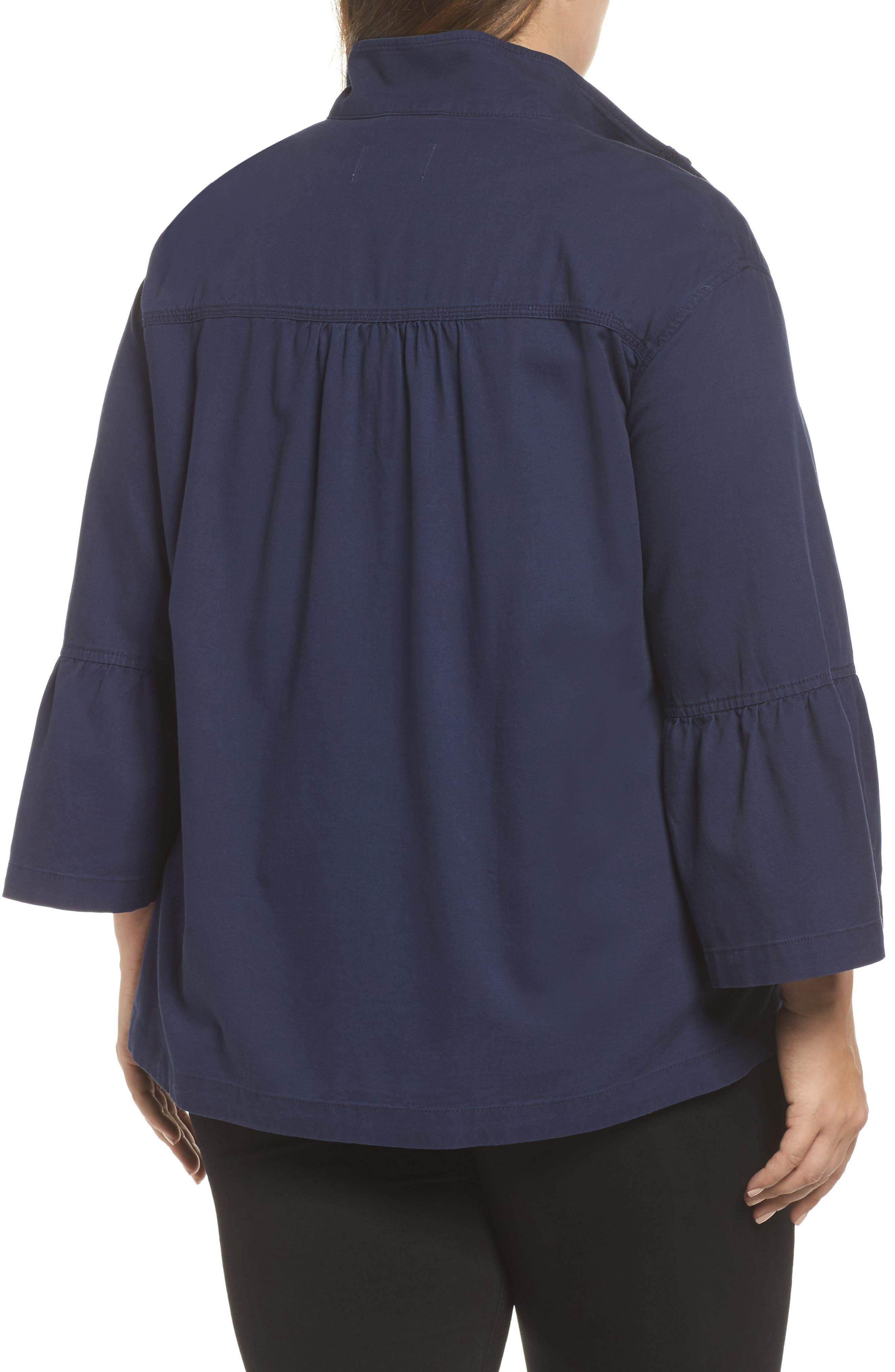 Alternate Image 2  - Caslon® Bell Sleeve Utility Jacket (Plus Size)