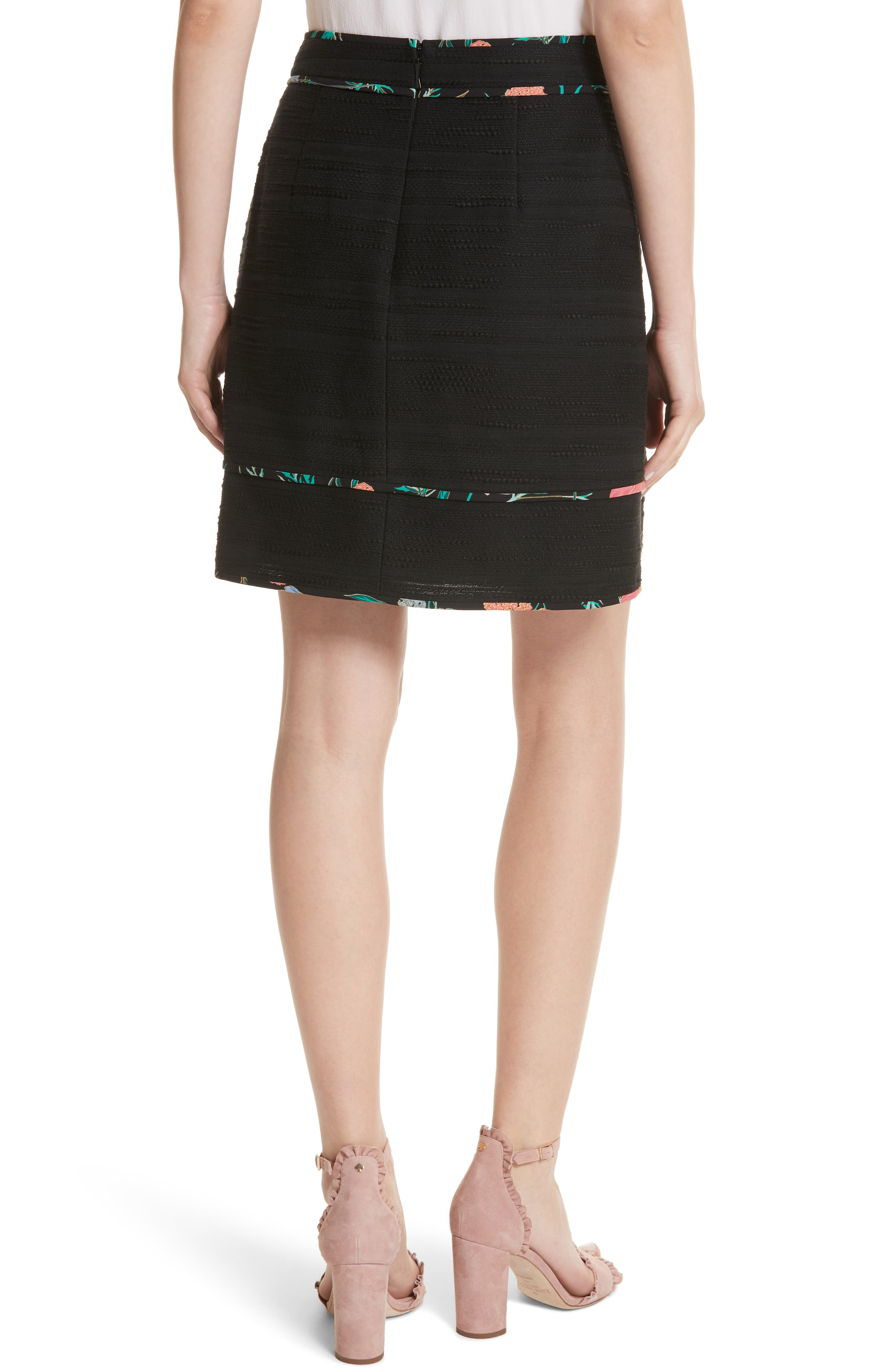 blossom trim tweed A-line skirt,                             Alternate thumbnail 2, color,                             Black