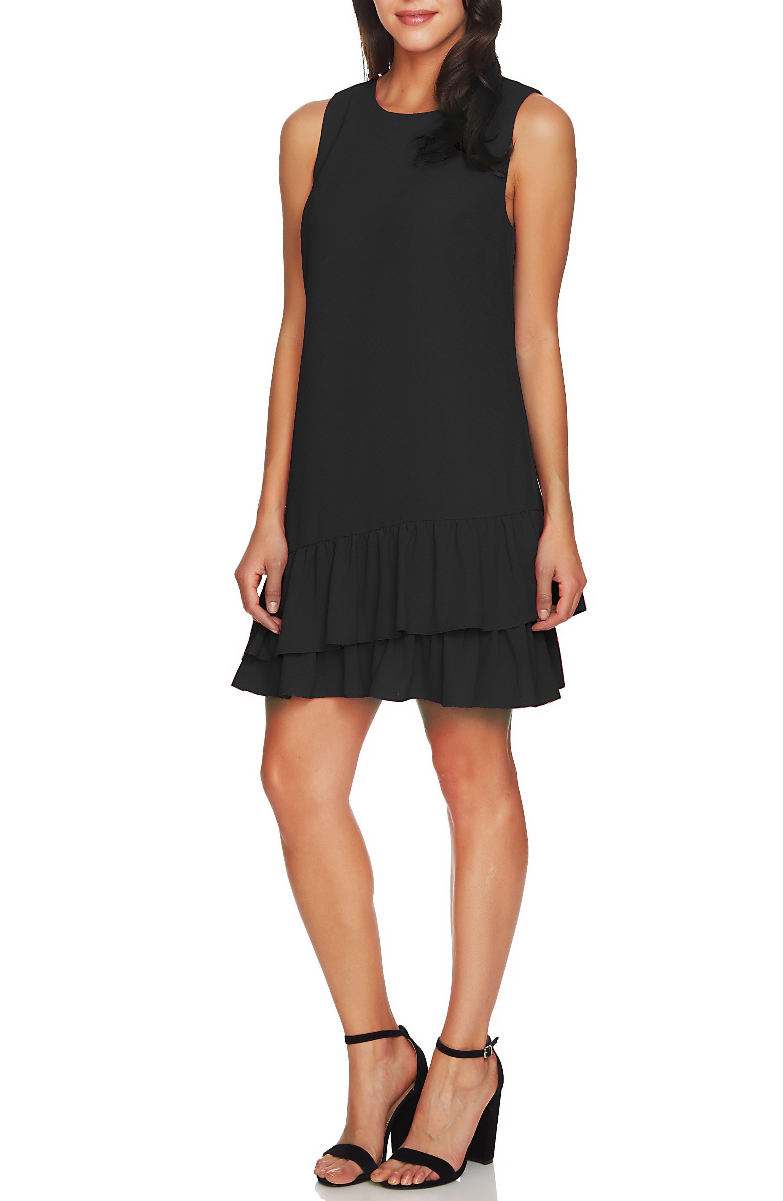 Macara Ruffle Hem Shift Dress,                             Main thumbnail 1, color,                             Rich Black
