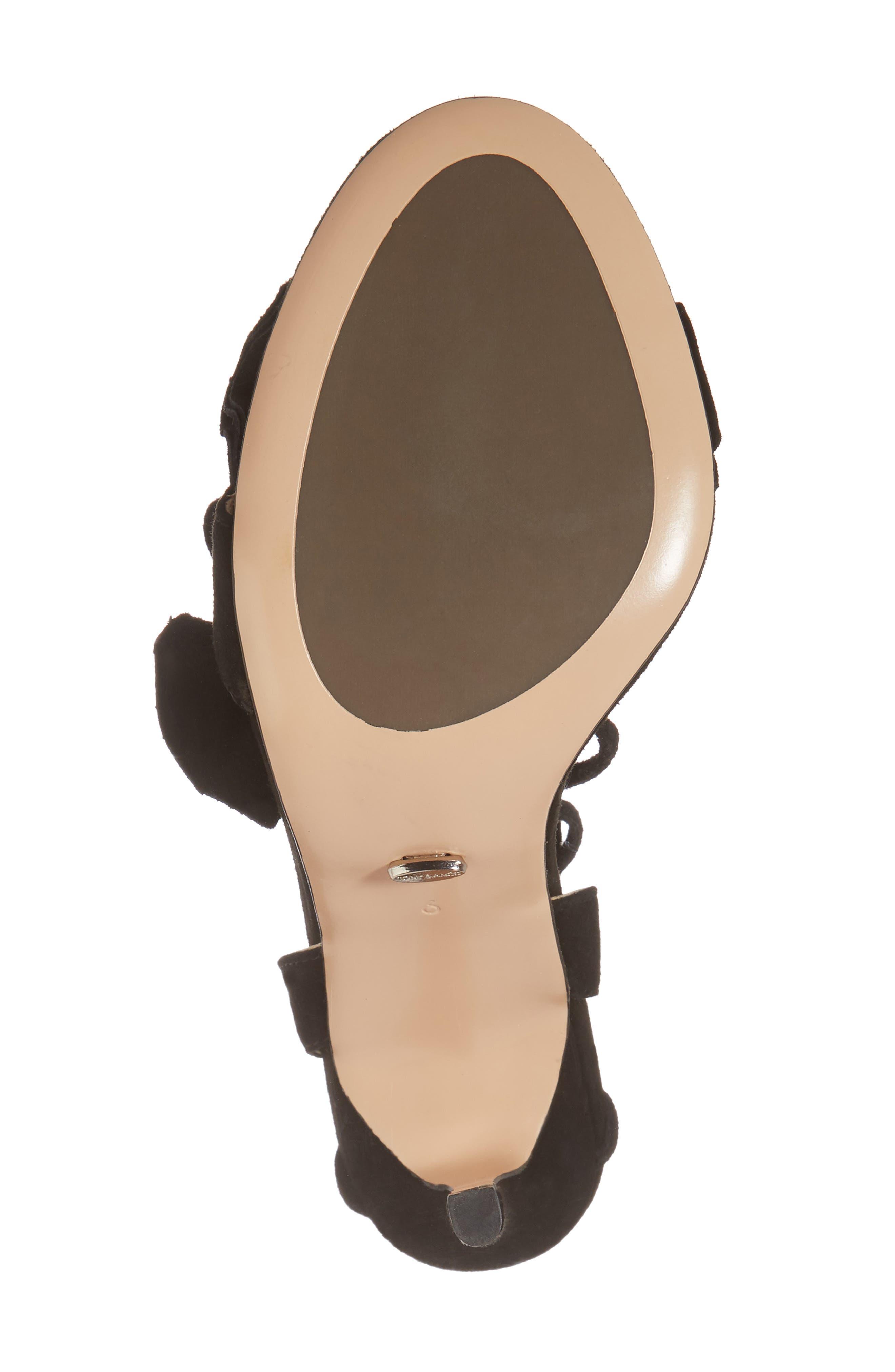 Kalipso Ruffled Wraparound Sandal,                             Alternate thumbnail 6, color,                             Black Suede