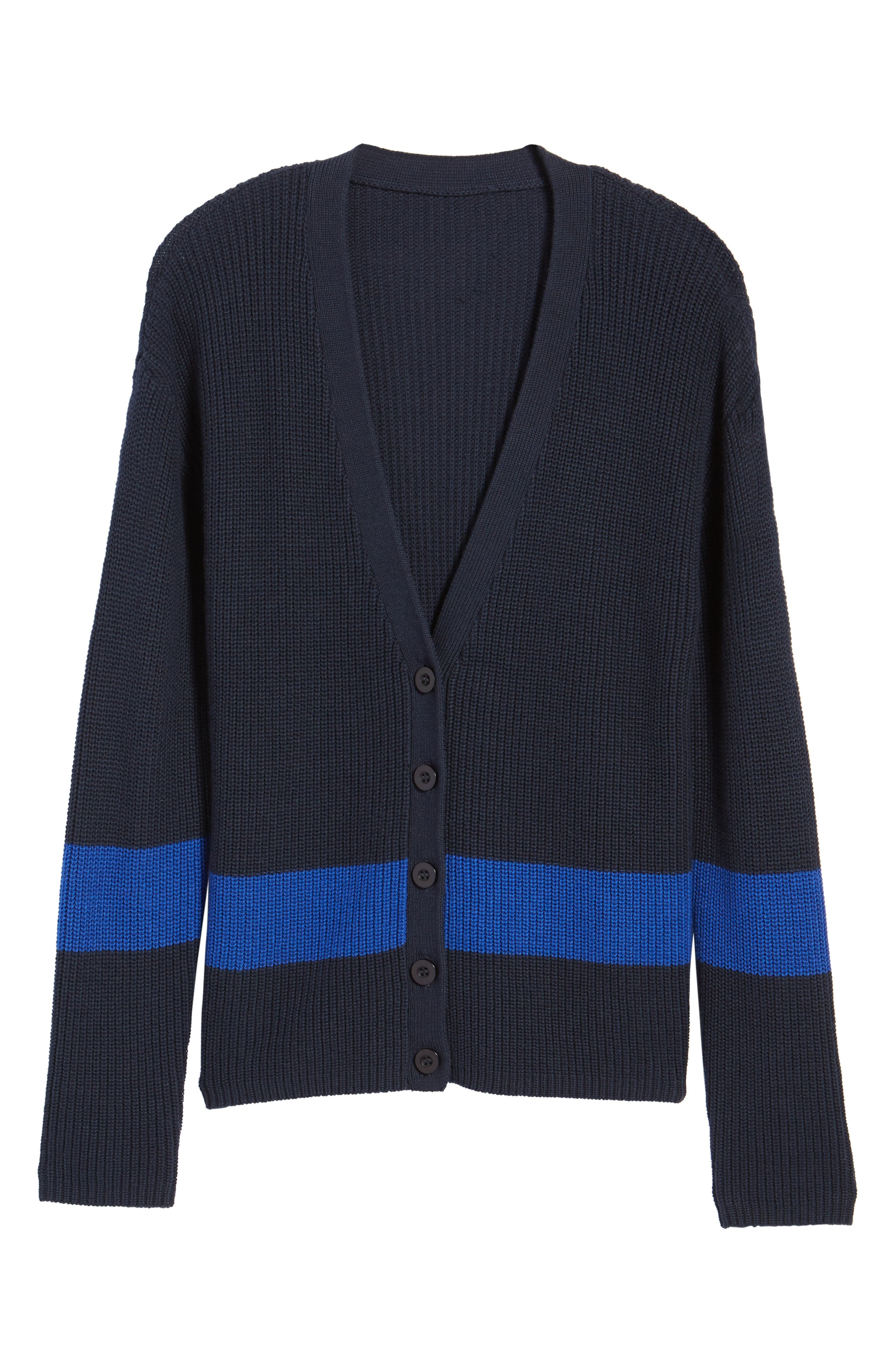 Shaker Knit Cardigan,                             Alternate thumbnail 7, color,                             Navy- Blue Colorblock